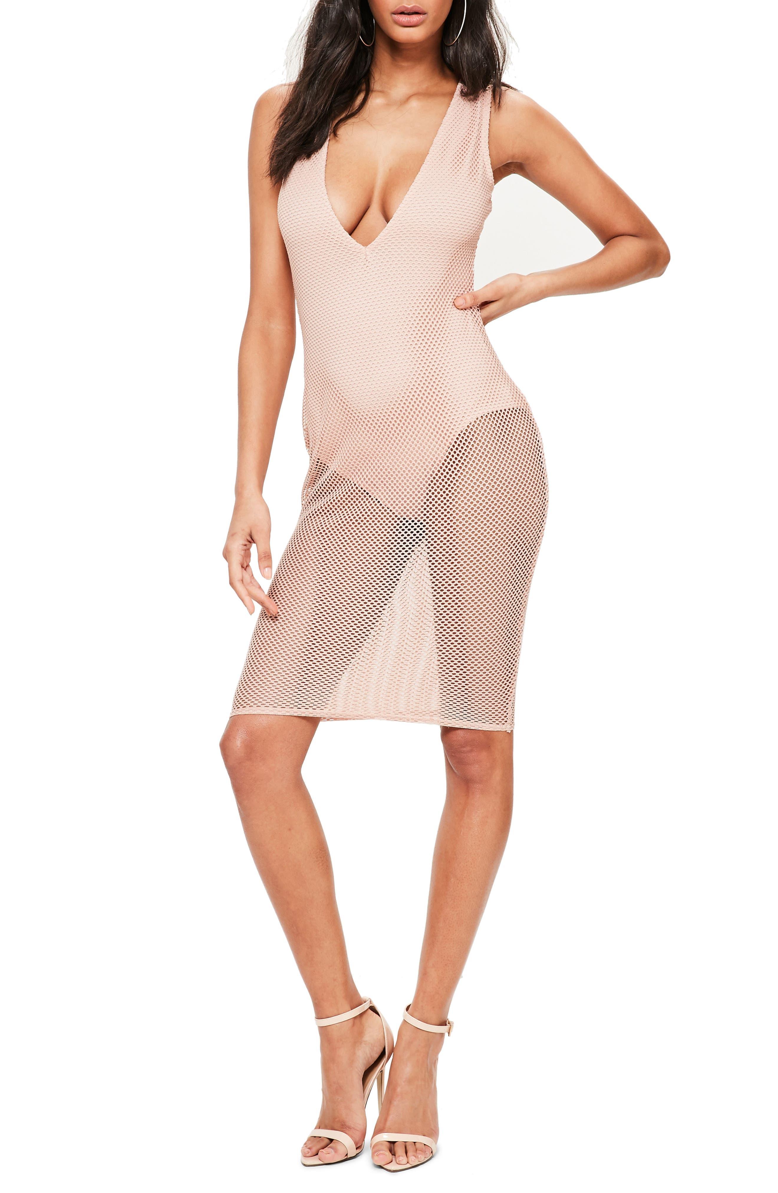 Fishnet Sleeveless Dress,                         Main,                         color, Rose