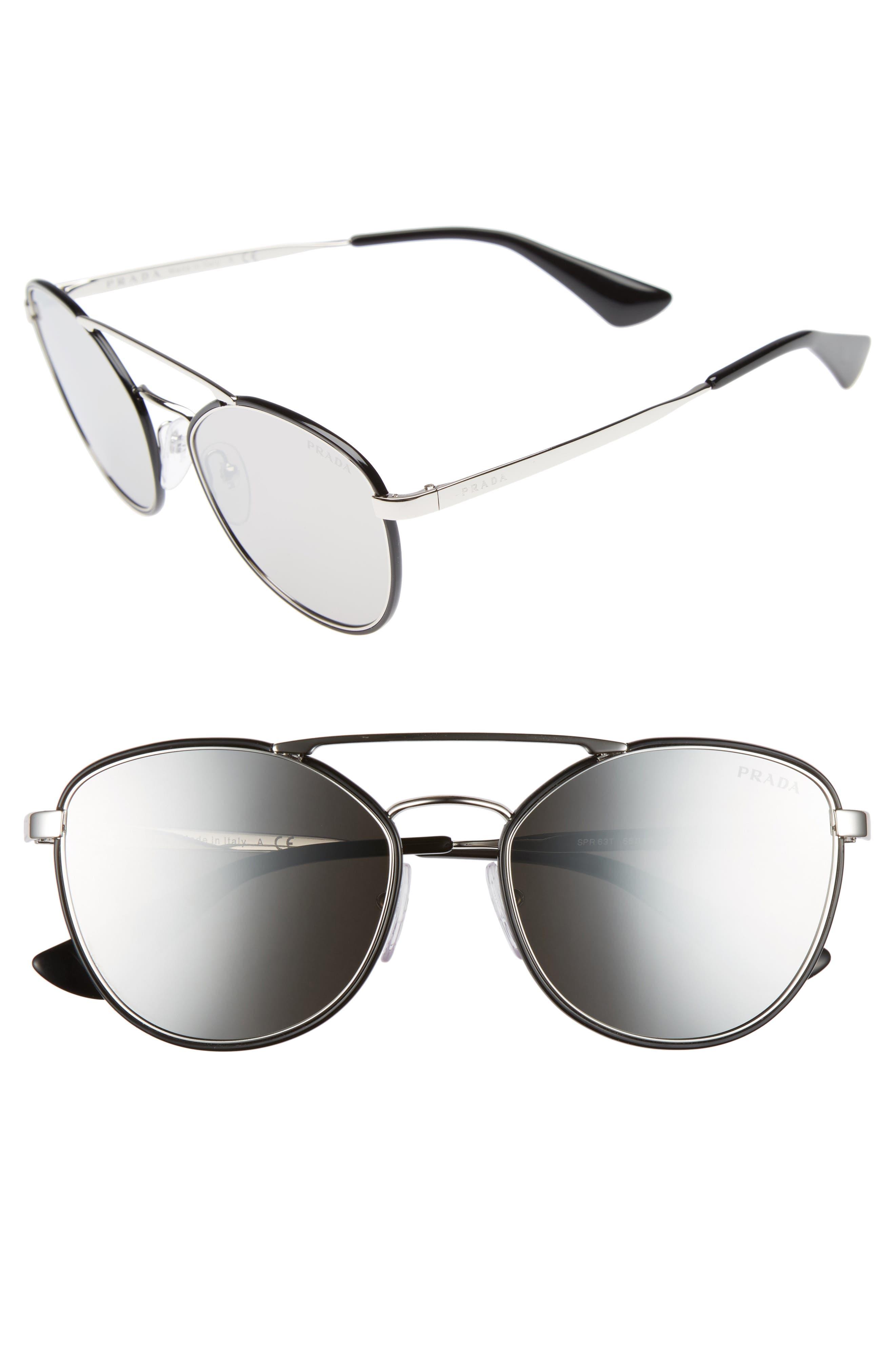 55mm Mirrored Aviator Sunglasses,                         Main,                         color, Black/ Grey Mirror