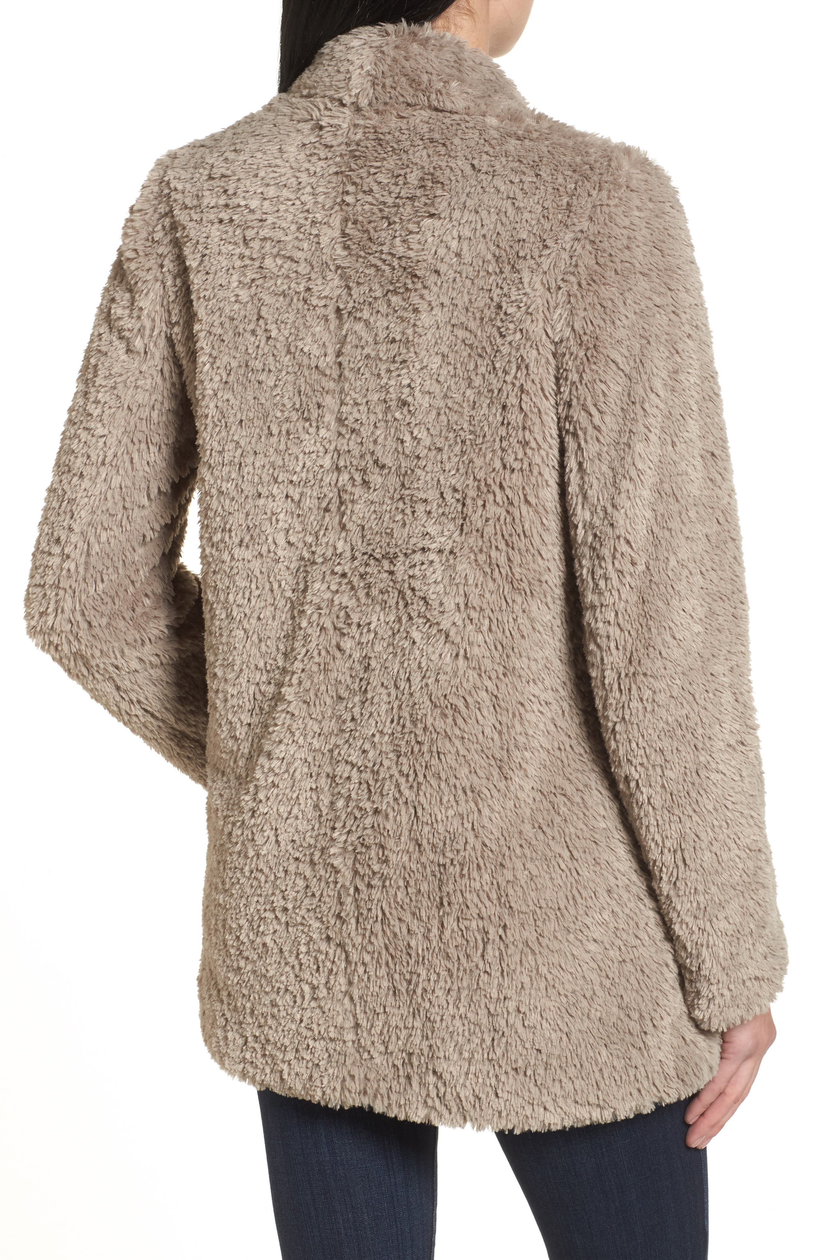 'Teddy Bear' Faux Fur Clutch Coat,                             Alternate thumbnail 2, color,                             Natural