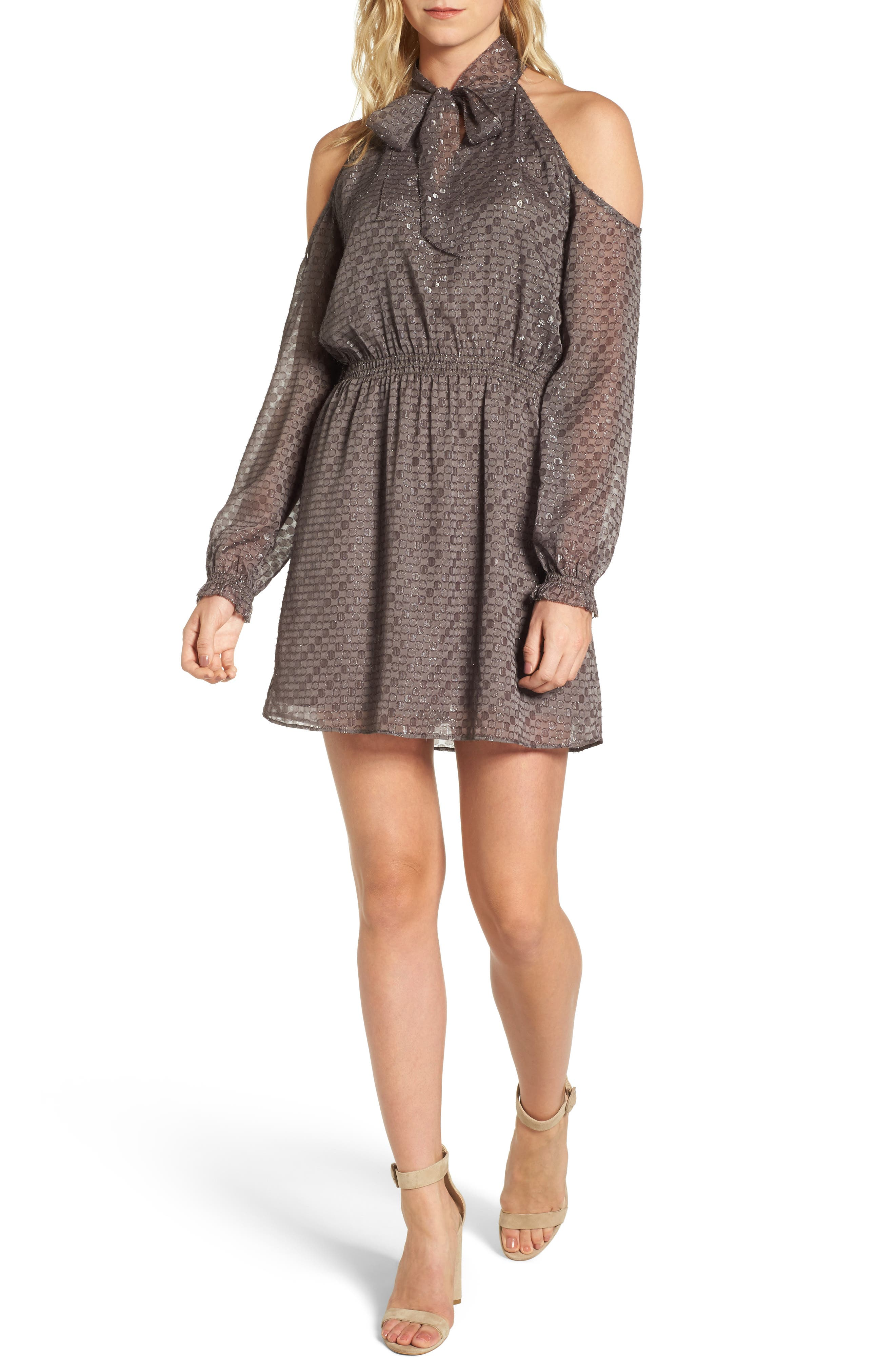 Cornelia Blouson Dress,                         Main,                         color, Brown