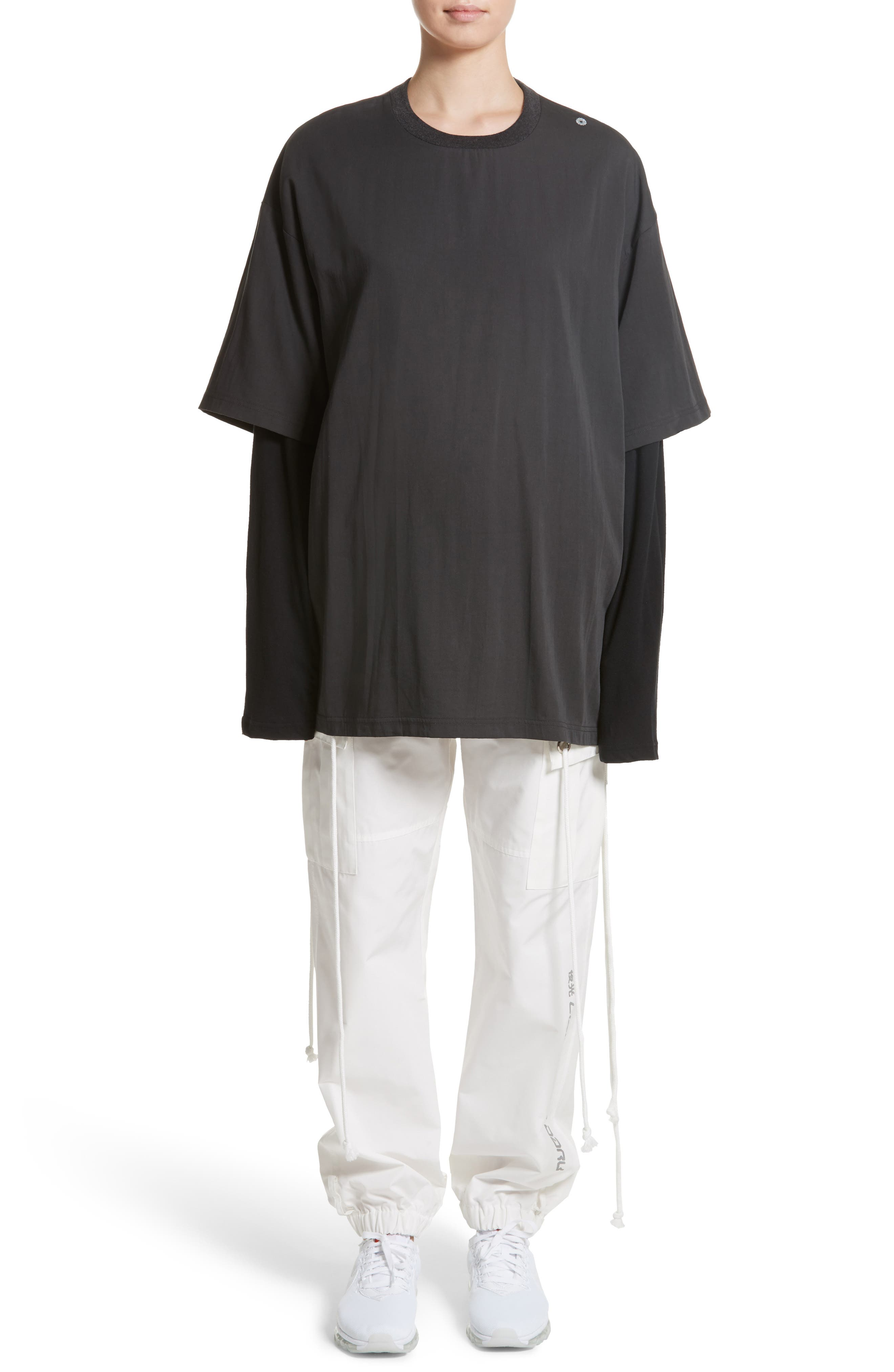 Layered Oversize Tee,                             Alternate thumbnail 8, color,                             Black