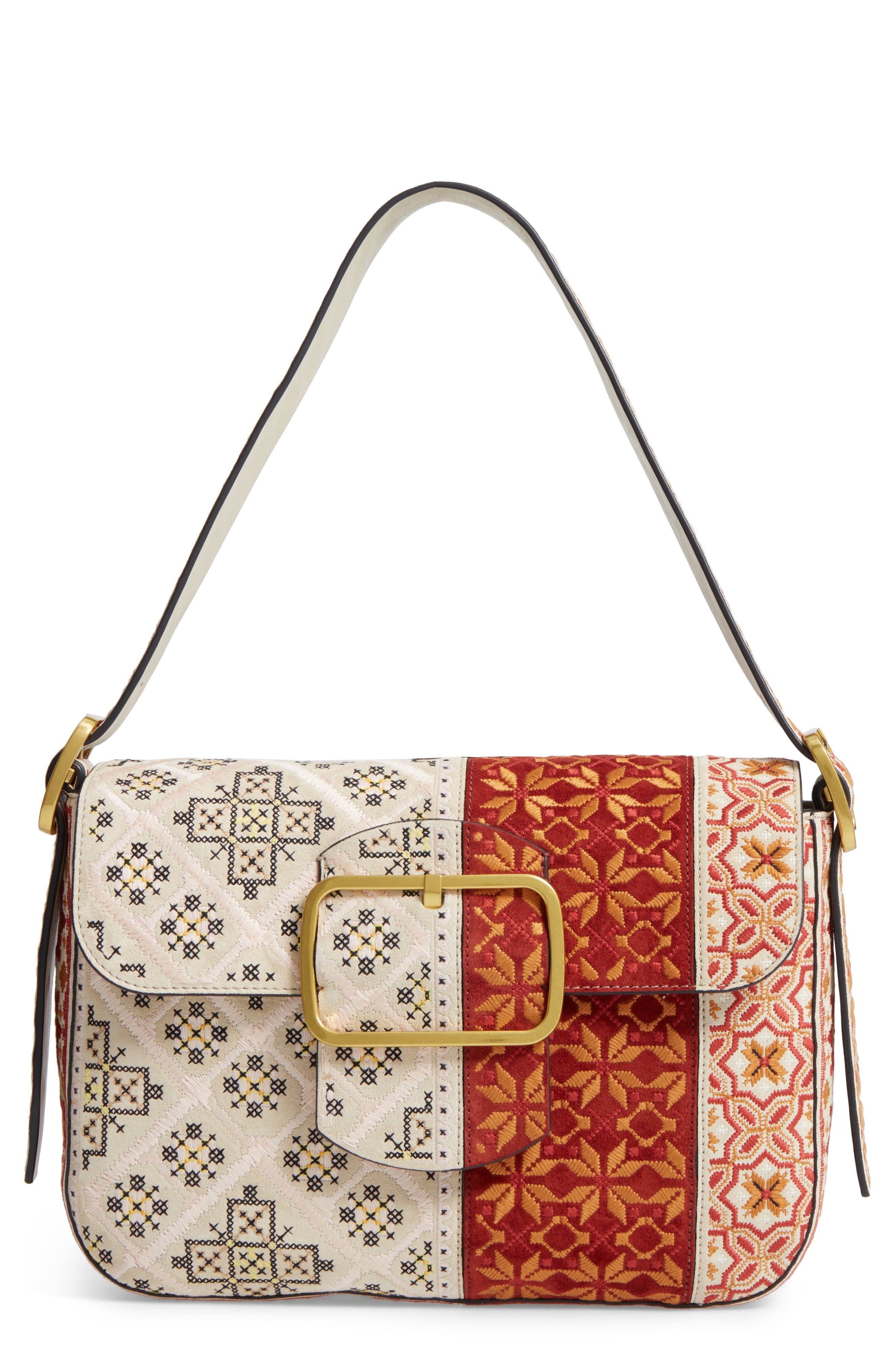 Sawyer Embroidered Shoulder Bag,                         Main,                         color, Angora
