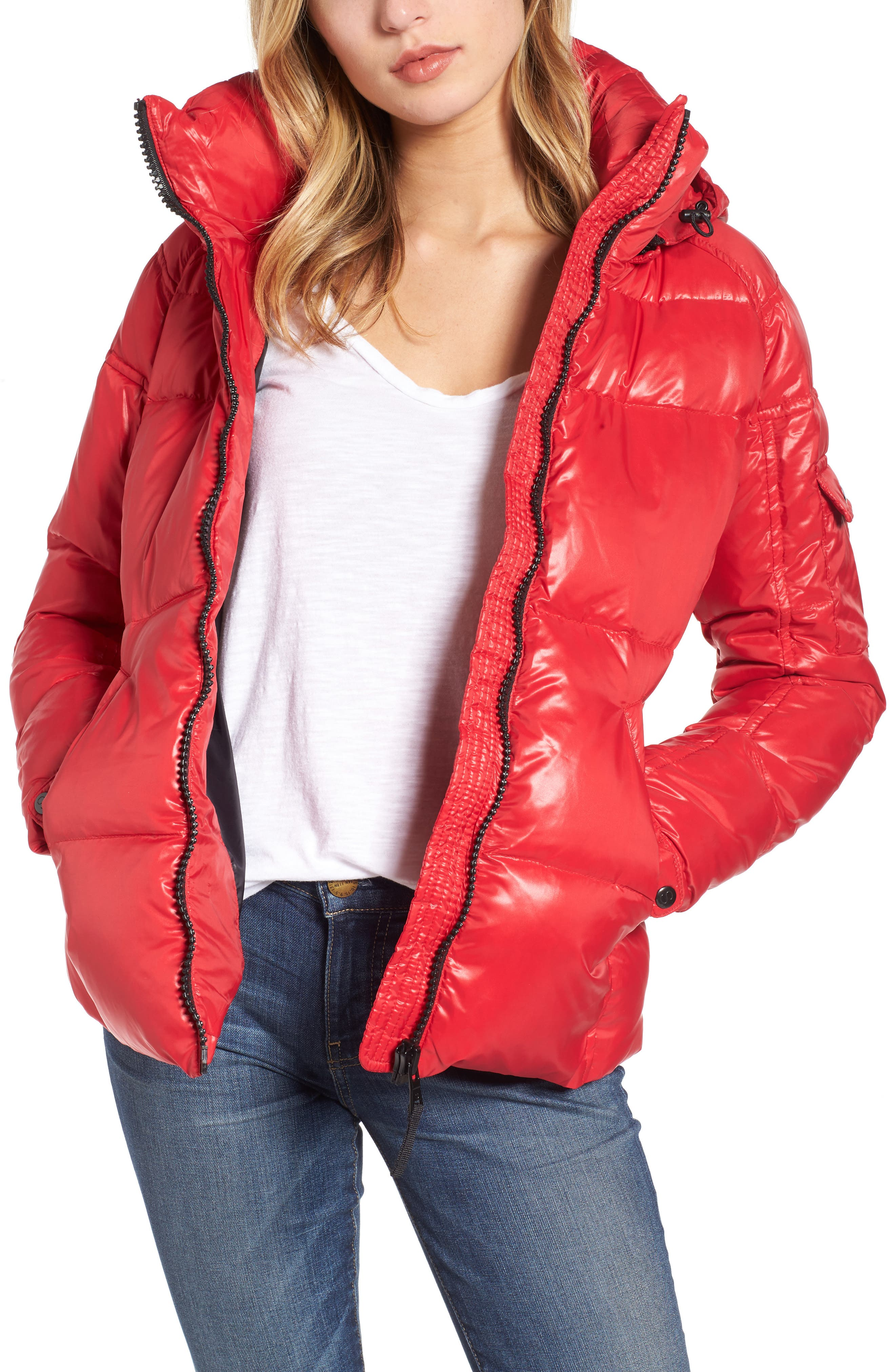 Main Image - S13 'Kylie' Metallic Quilted Jacket with Removable Hood