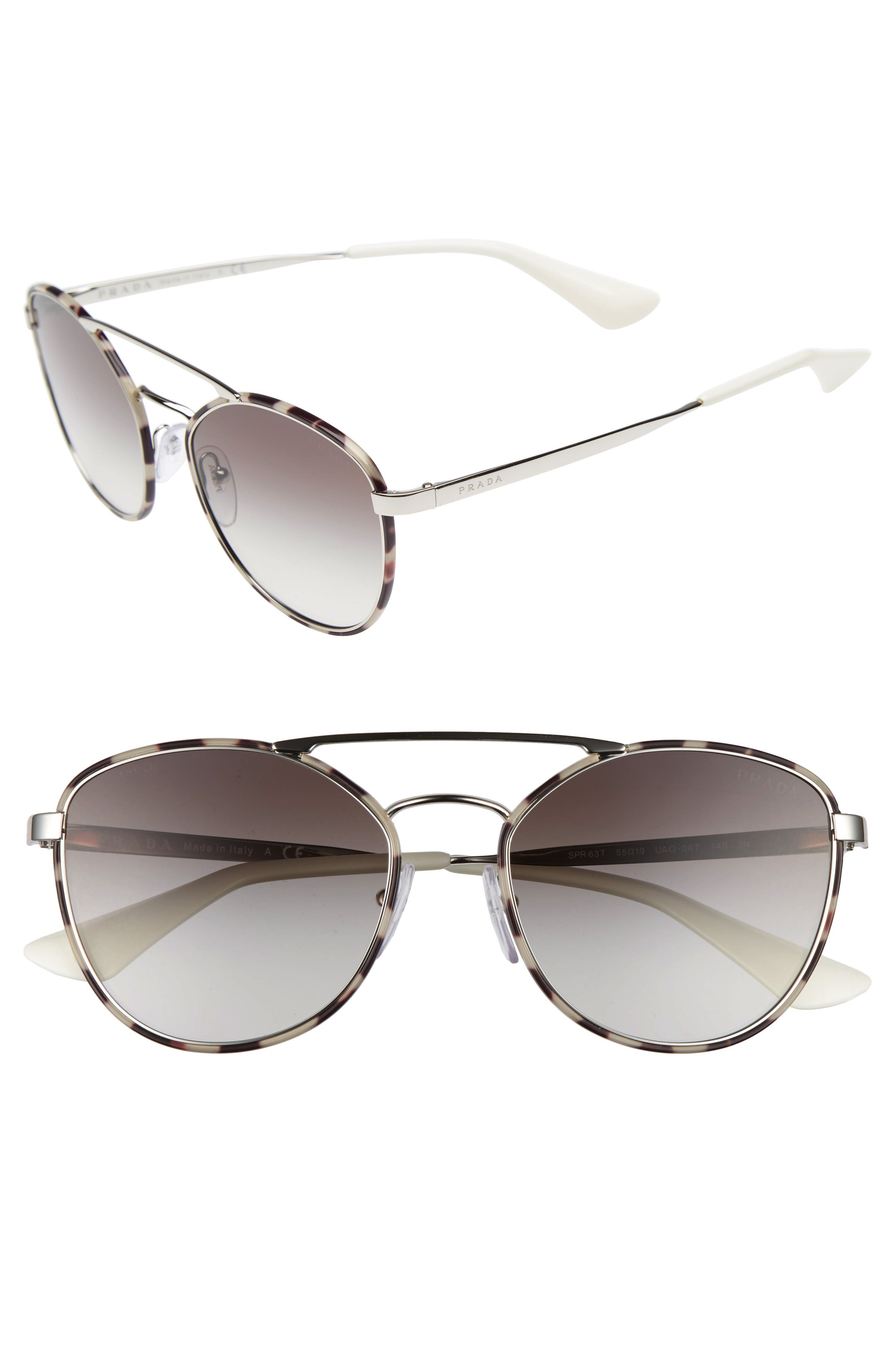 55mm Gradient Aviator Sunglasses,                             Main thumbnail 1, color,                             Spotty Brown