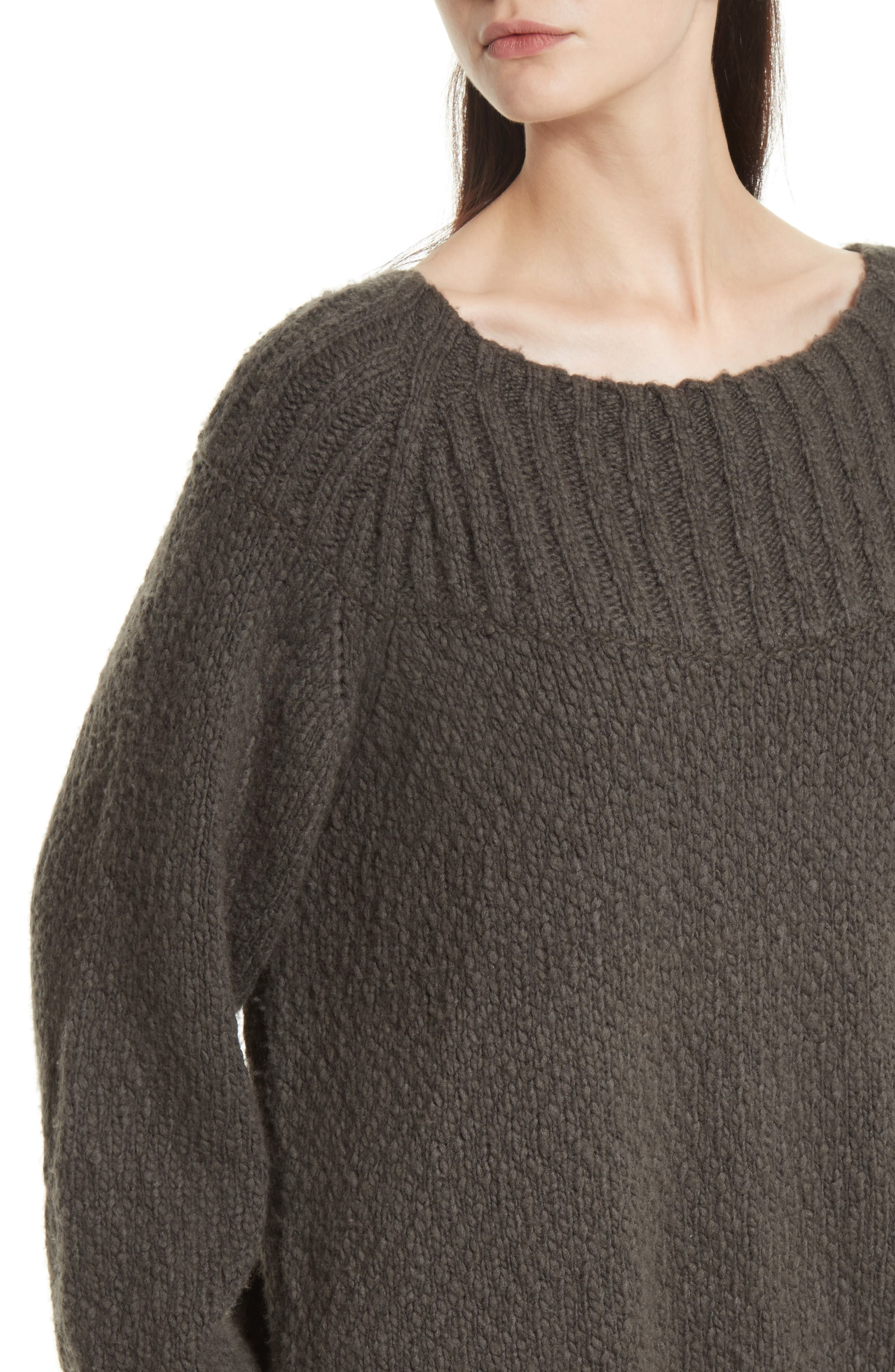 Ribbed Yoke Knit Sweater,                             Alternate thumbnail 4, color,                             Graphite