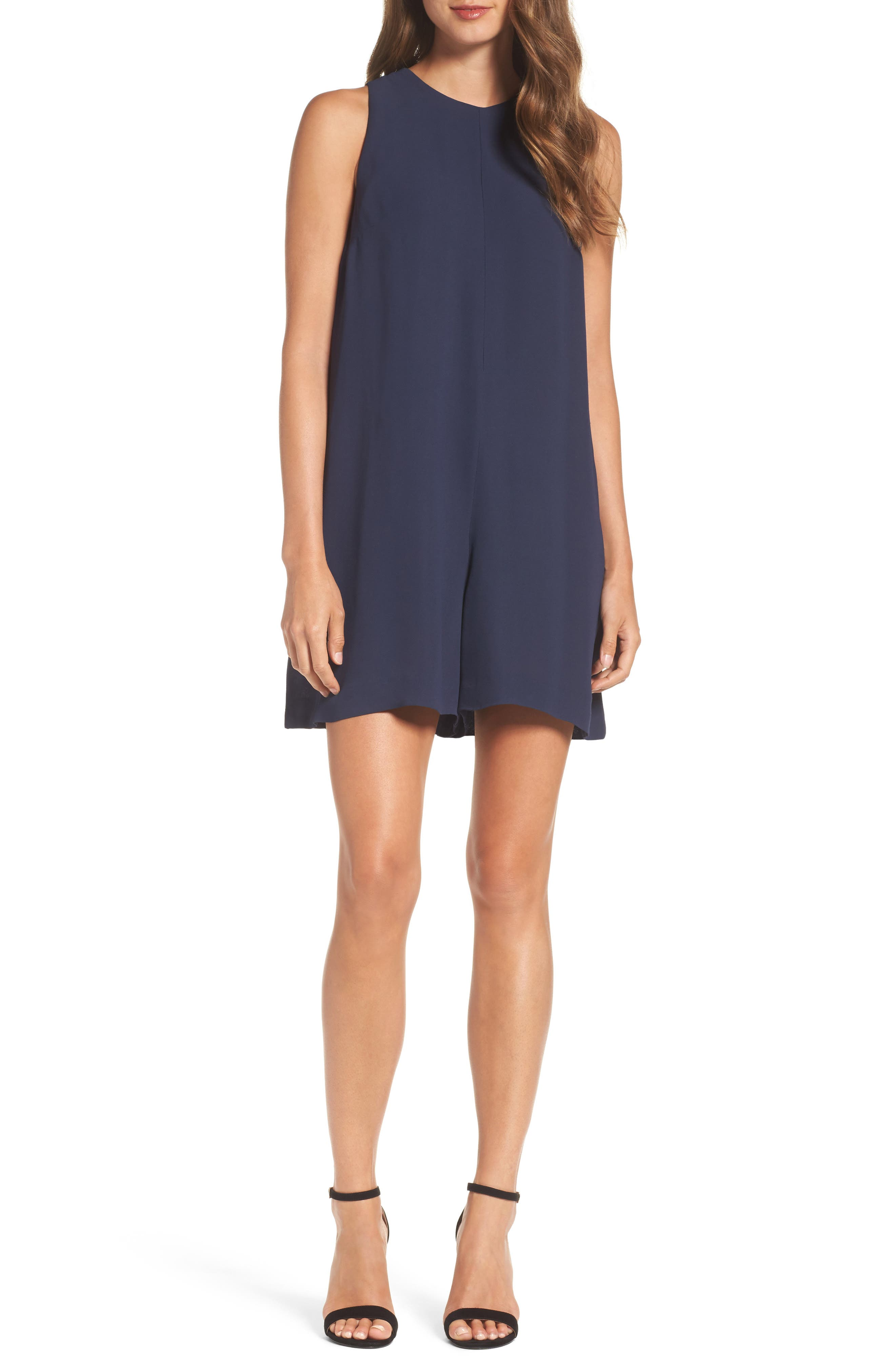 Evening Dew Sleeveless Romper,                         Main,                         color, Nocturnal