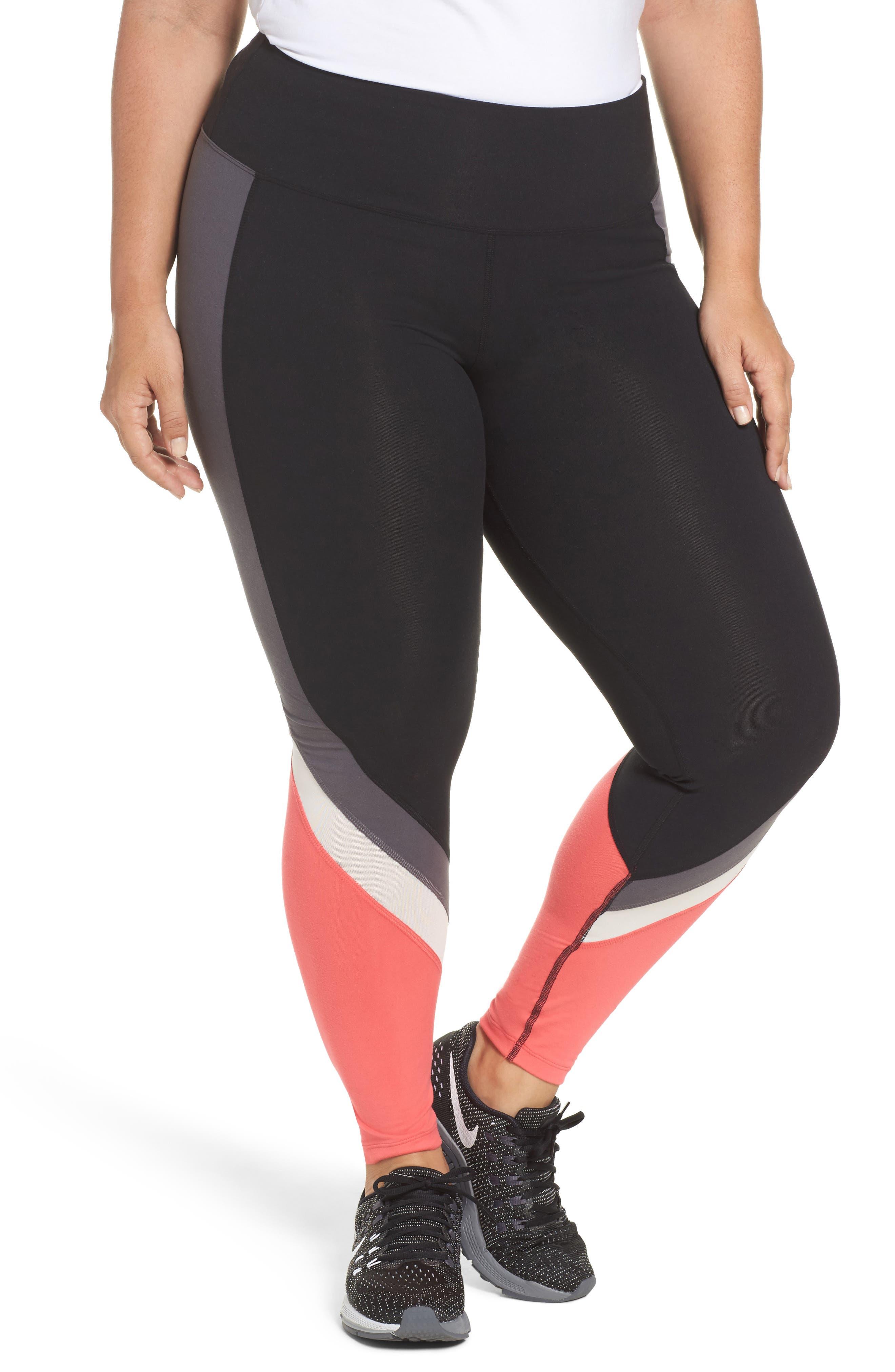 Colorblock Leggings,                         Main,                         color, Black/ Push-Up Pink