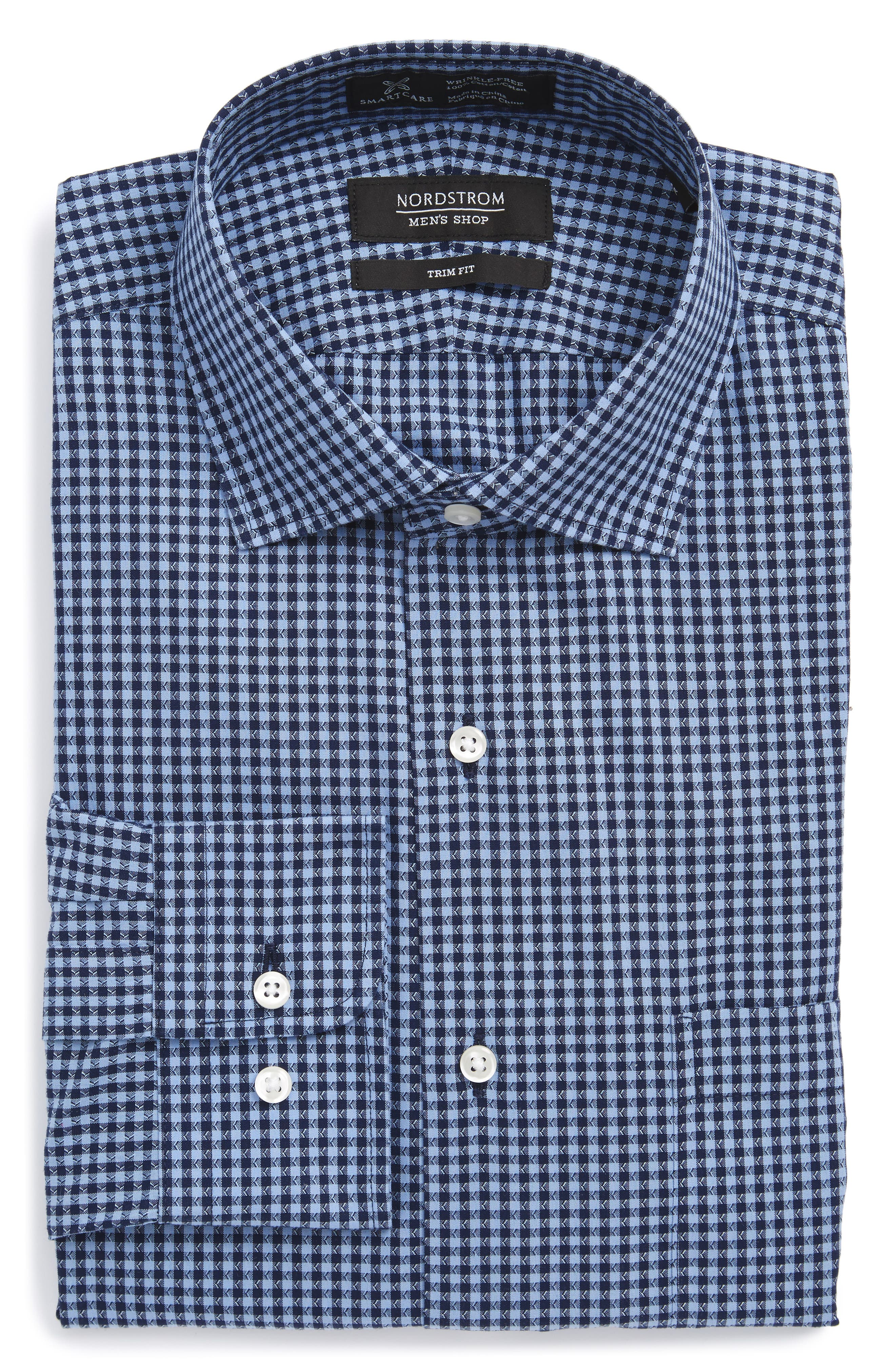 Smartcare<sup>™</sup> Trim Fit Check Dress Shirt,                         Main,                         color, Blue Medieval