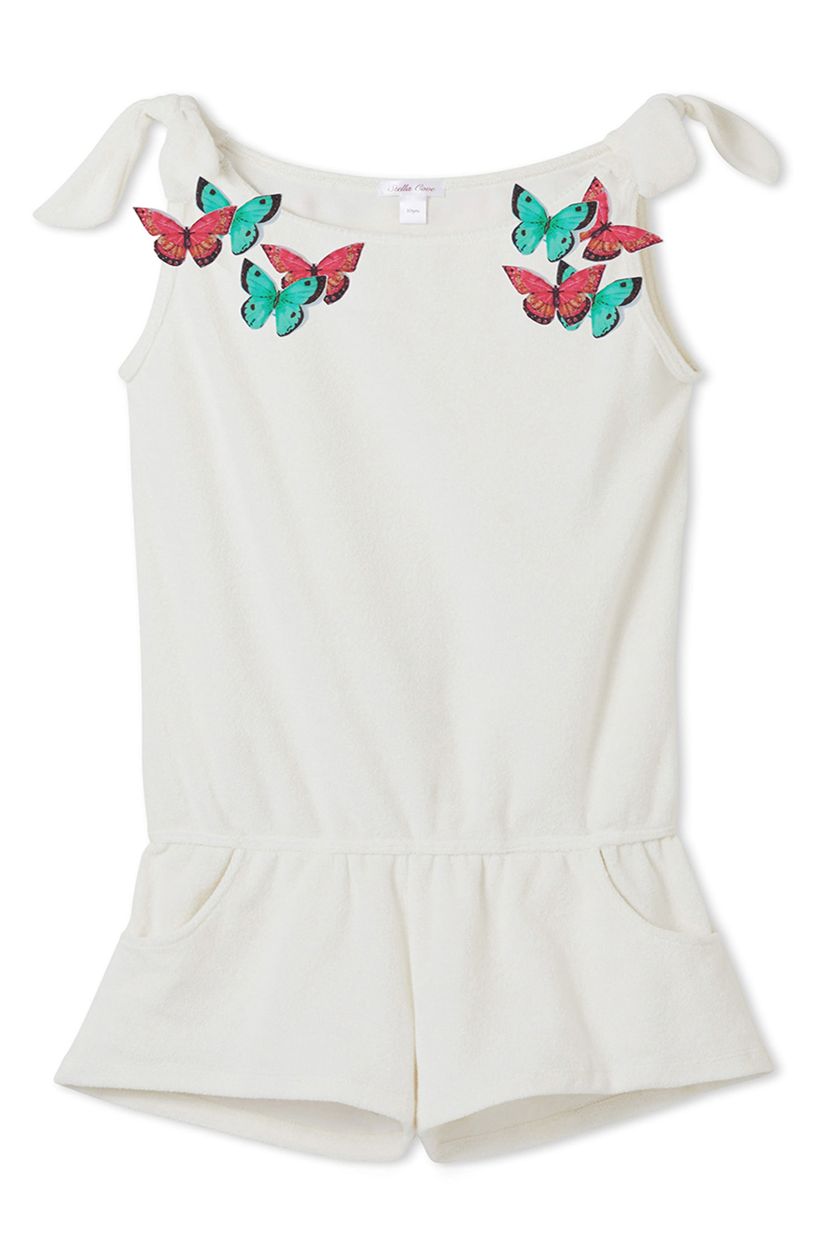 Butterfly Cover-Up Romper,                         Main,                         color, White