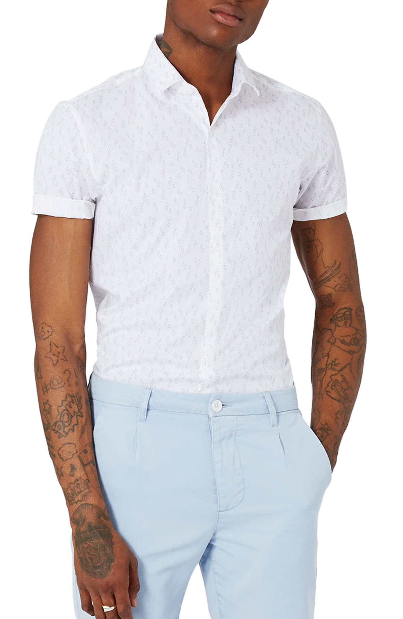 Slim Fit Geo Print Woven Shirt,                             Main thumbnail 1, color,                             Stone Multi
