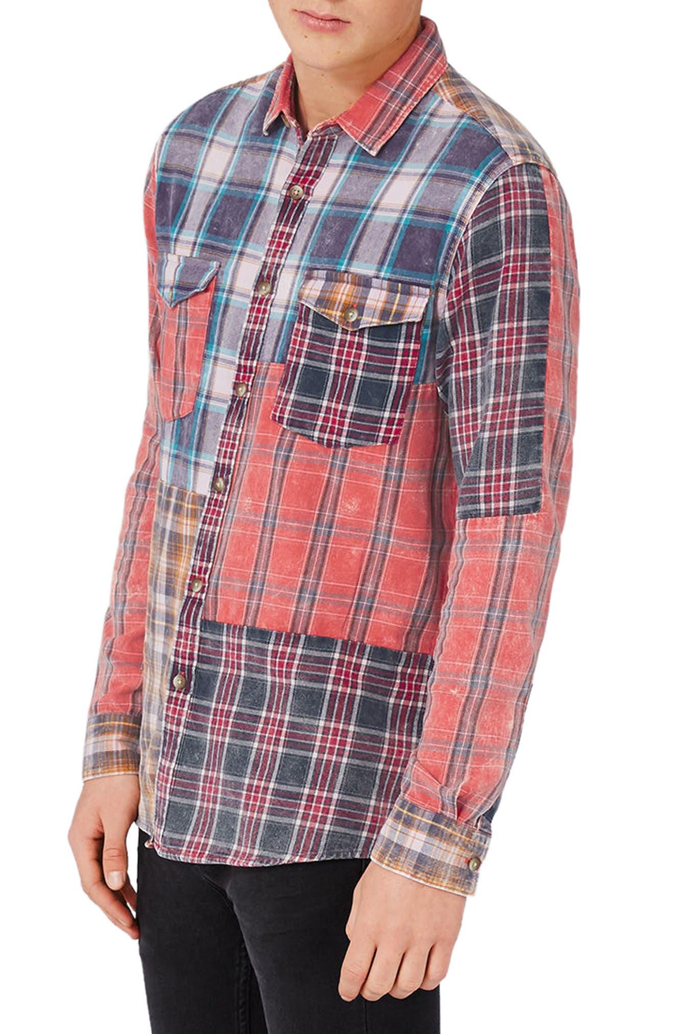 Topman Classic Fit Patchwork Check Flannel Shirt