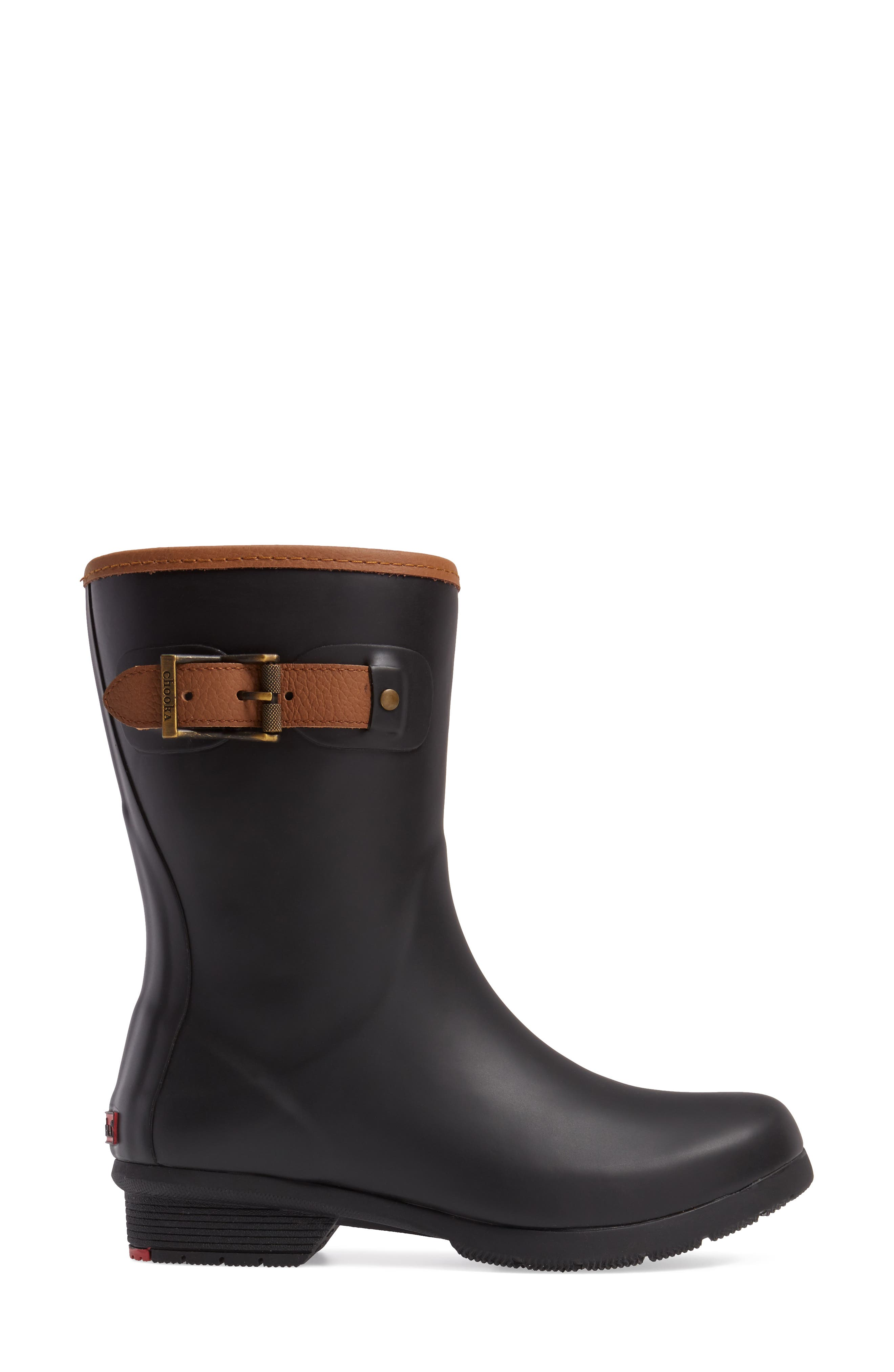 City Solid Mid Height Rain Boot,                             Alternate thumbnail 3, color,                             Black