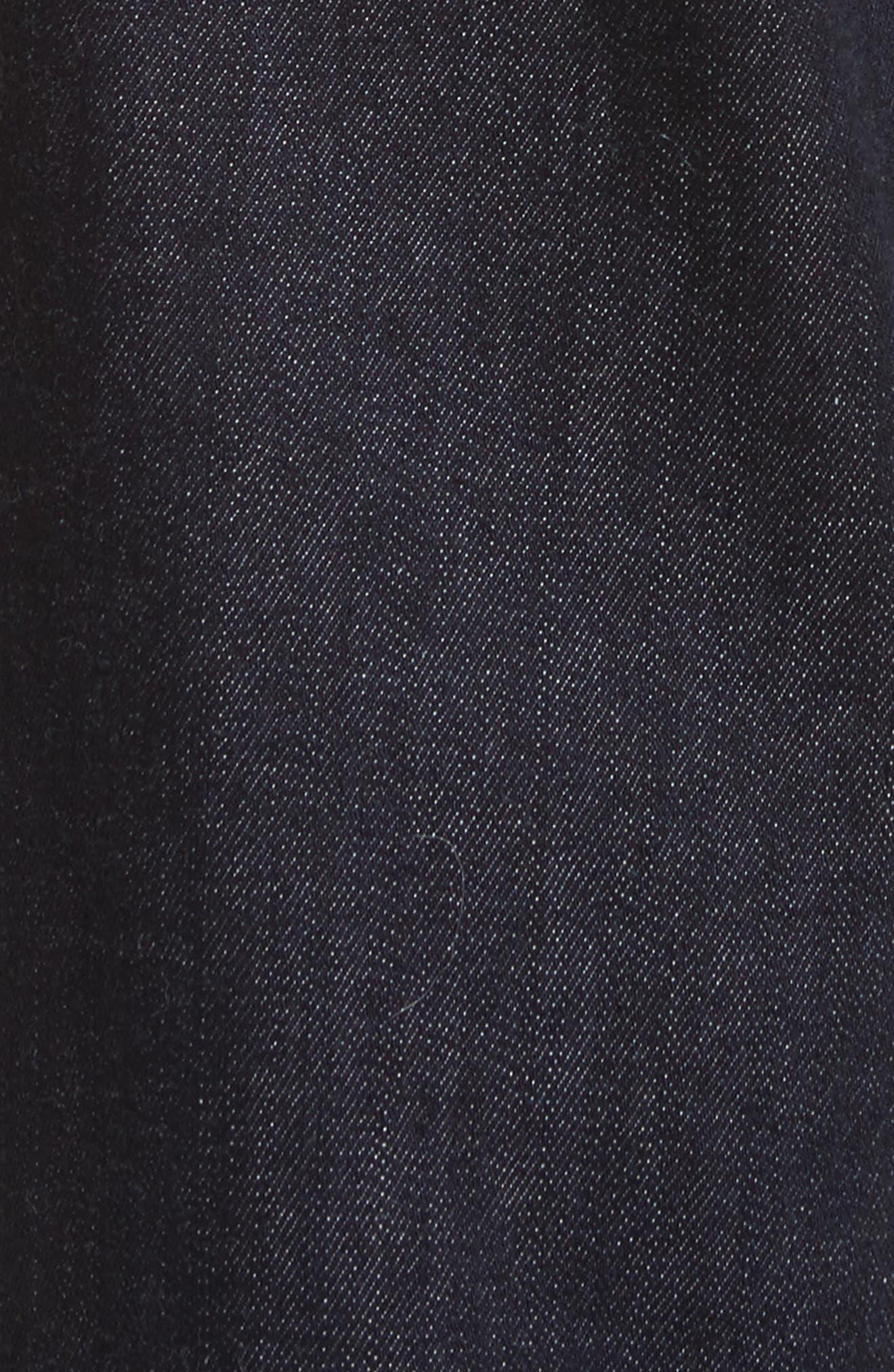 Ribbon Cuff Wide Leg Jeans,                             Alternate thumbnail 5, color,                             Dark Wash