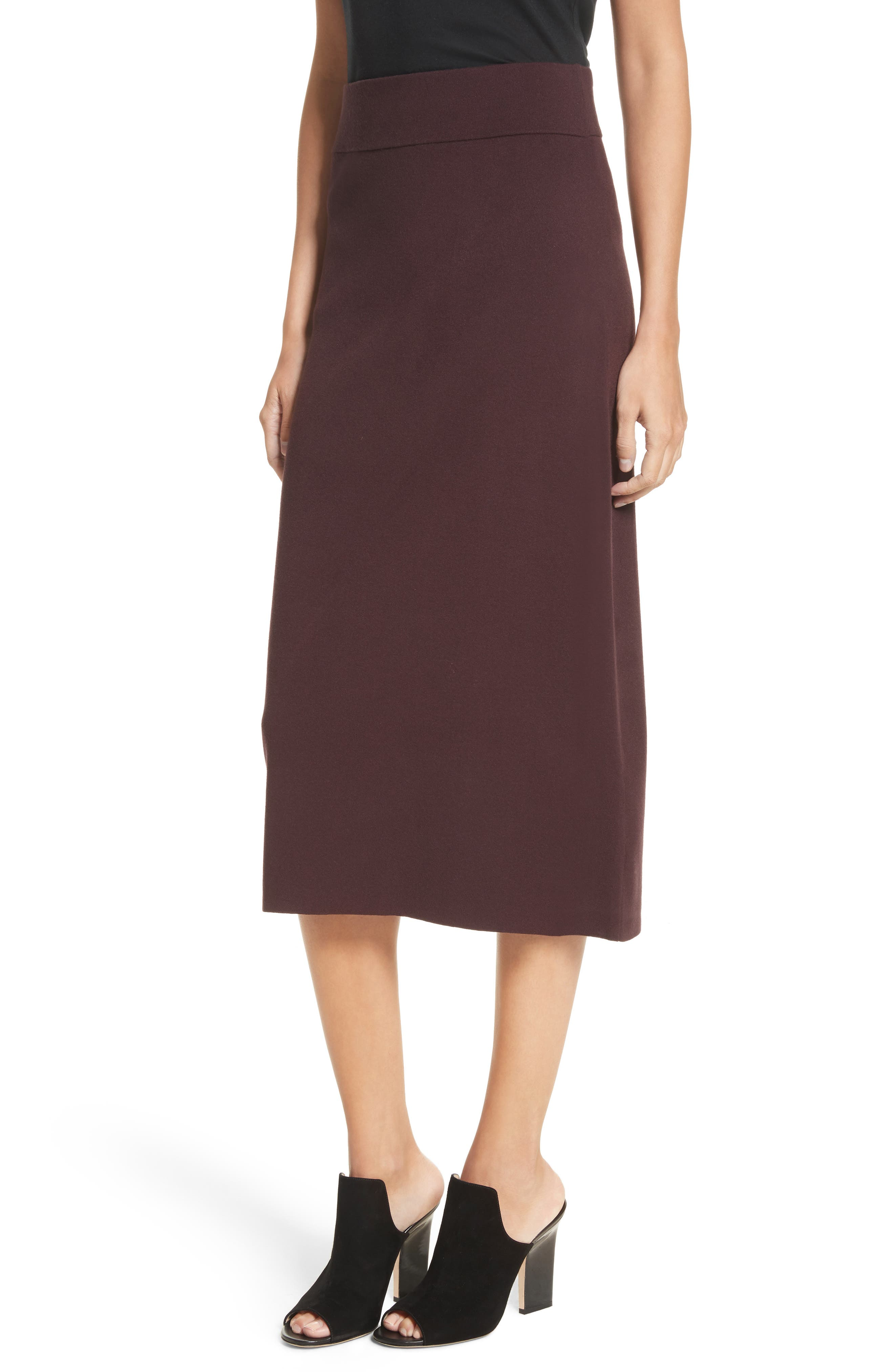 Smith Knit Pencil Skirt,                             Alternate thumbnail 5, color,                             Raisin