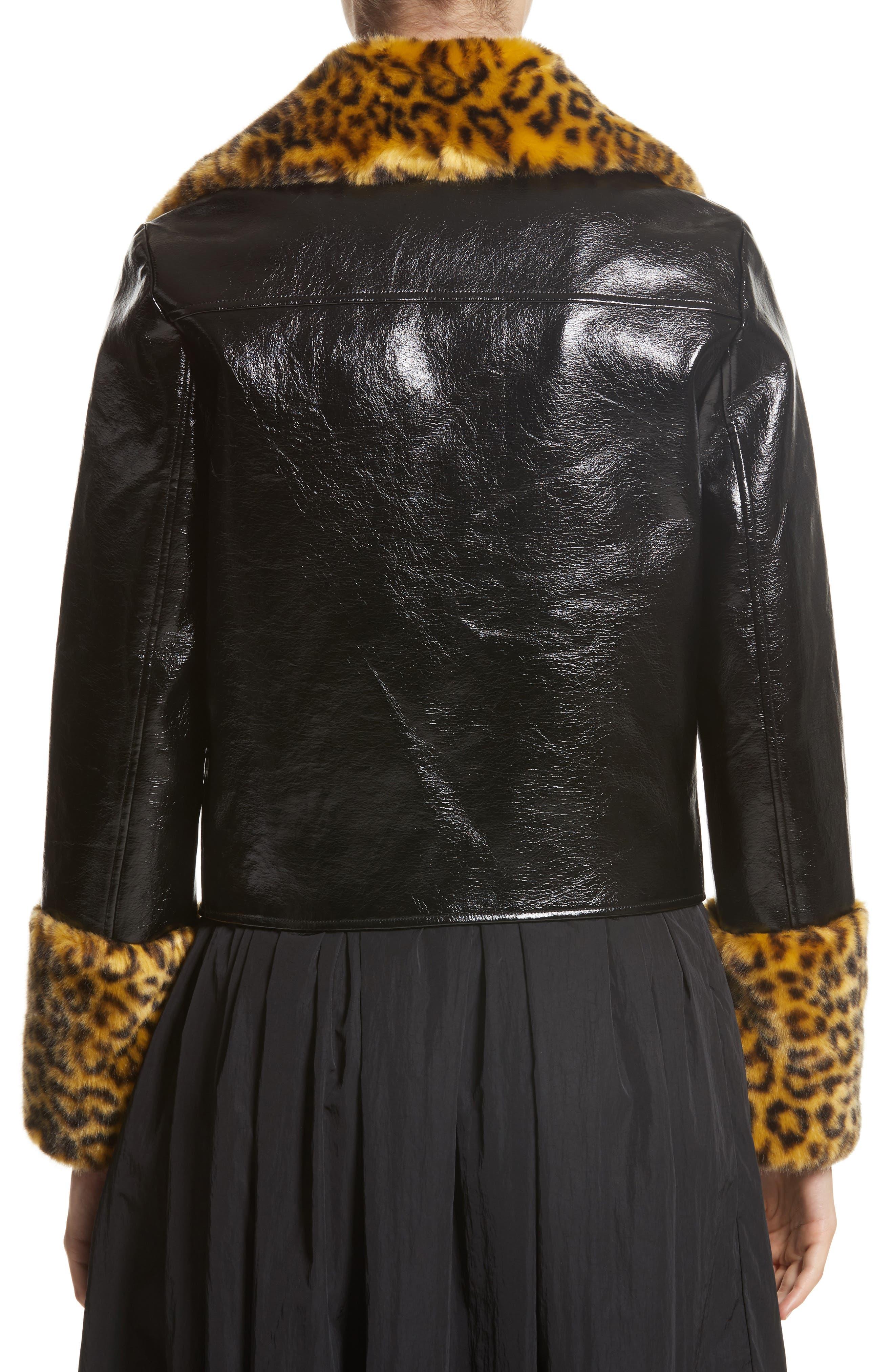 Maisie Faux Leather Biker Jacket with Faux Fur Trim,                             Alternate thumbnail 2, color,                             Black
