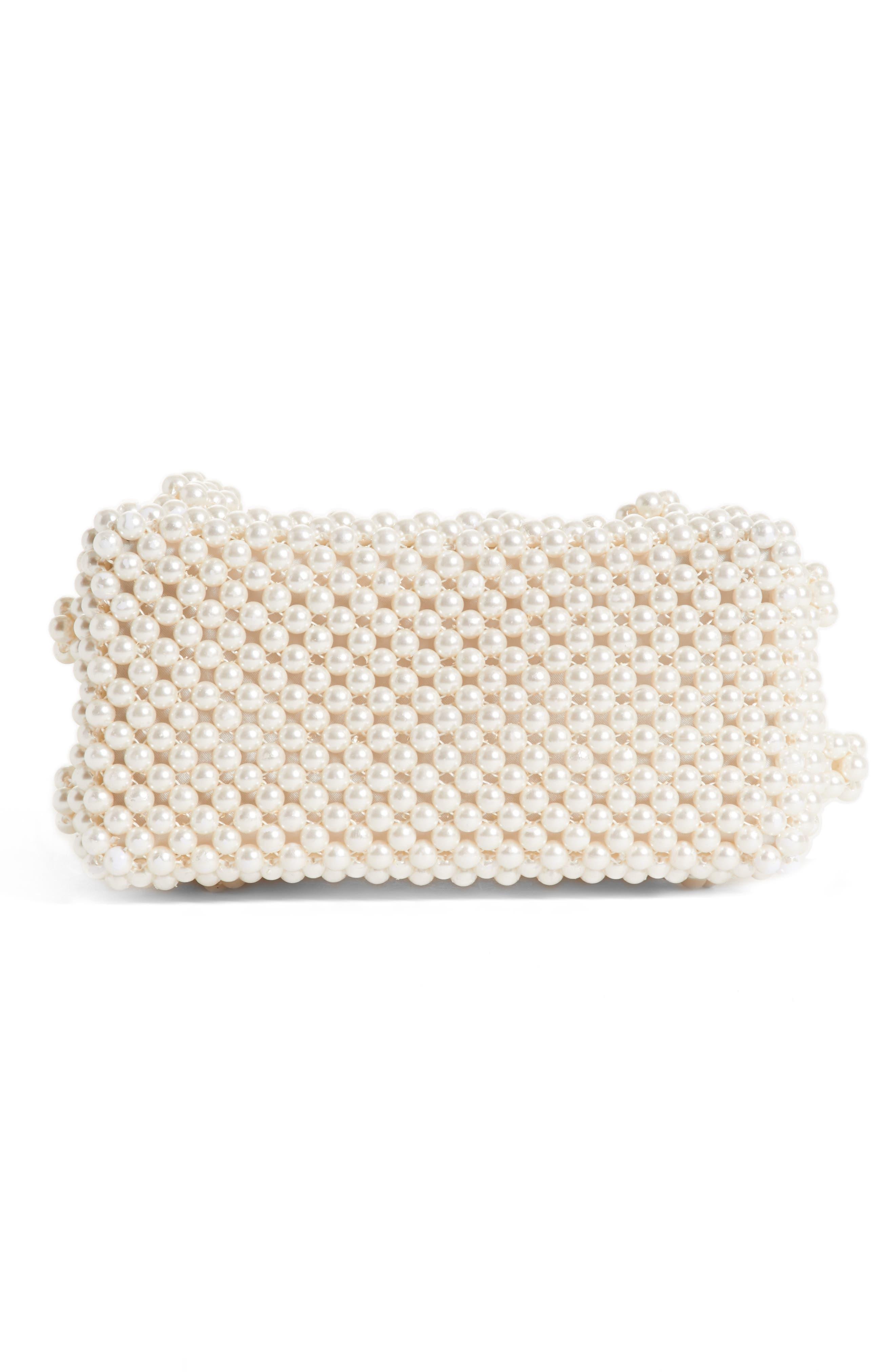 Antonia Small Imitation Pearl Beaded Handbag,                             Alternate thumbnail 6, color,                             Cream