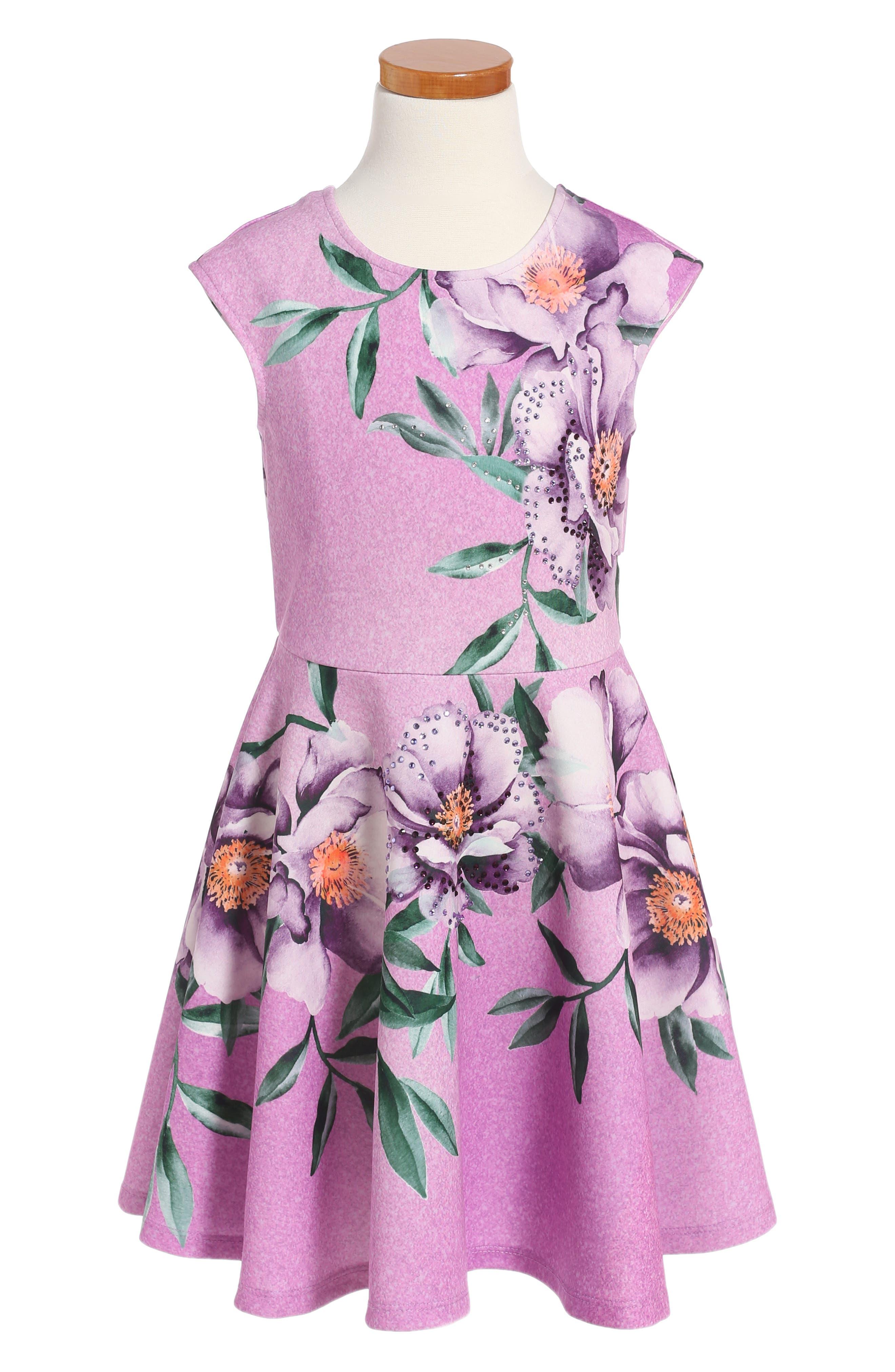 Floral Print Skater Dress,                             Main thumbnail 1, color,                             Lavender