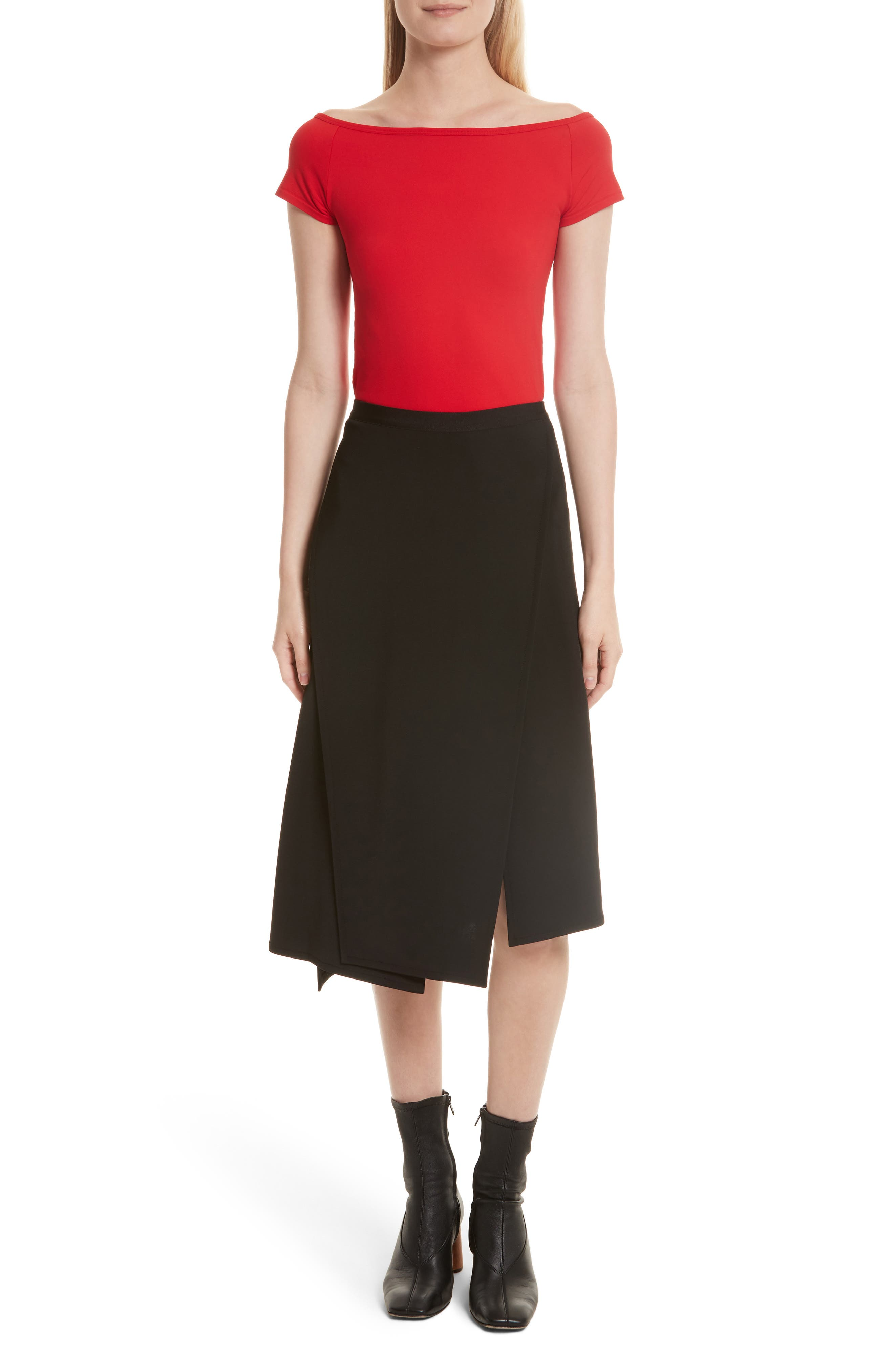 Bondage Jersey Asymmetrical Skirt,                             Alternate thumbnail 7, color,                             Black