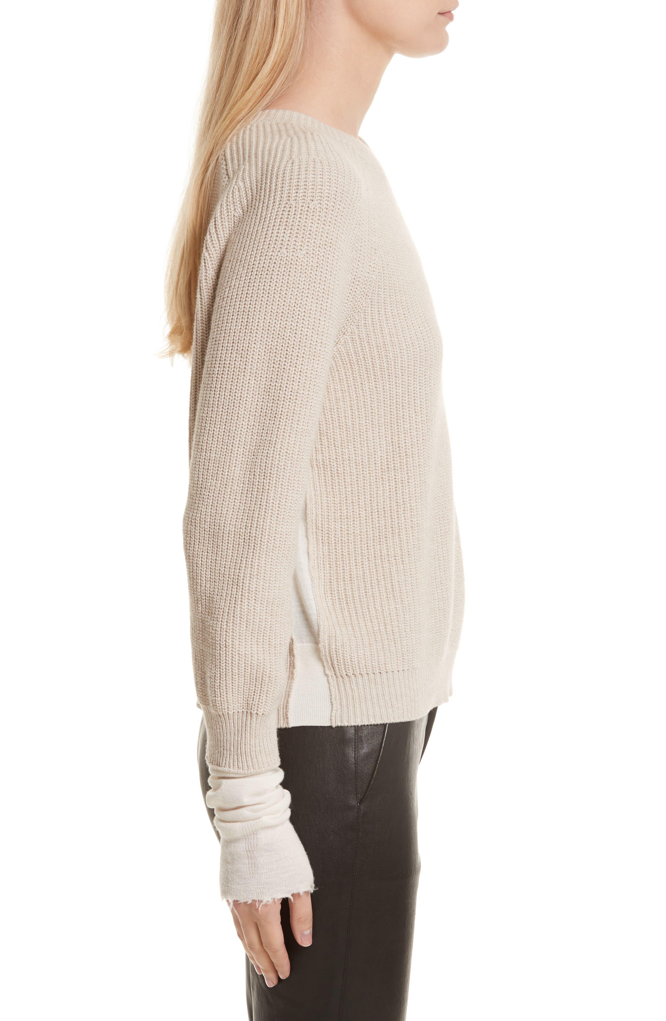 Layered Rib Pullover,                             Alternate thumbnail 3, color,                             Linen