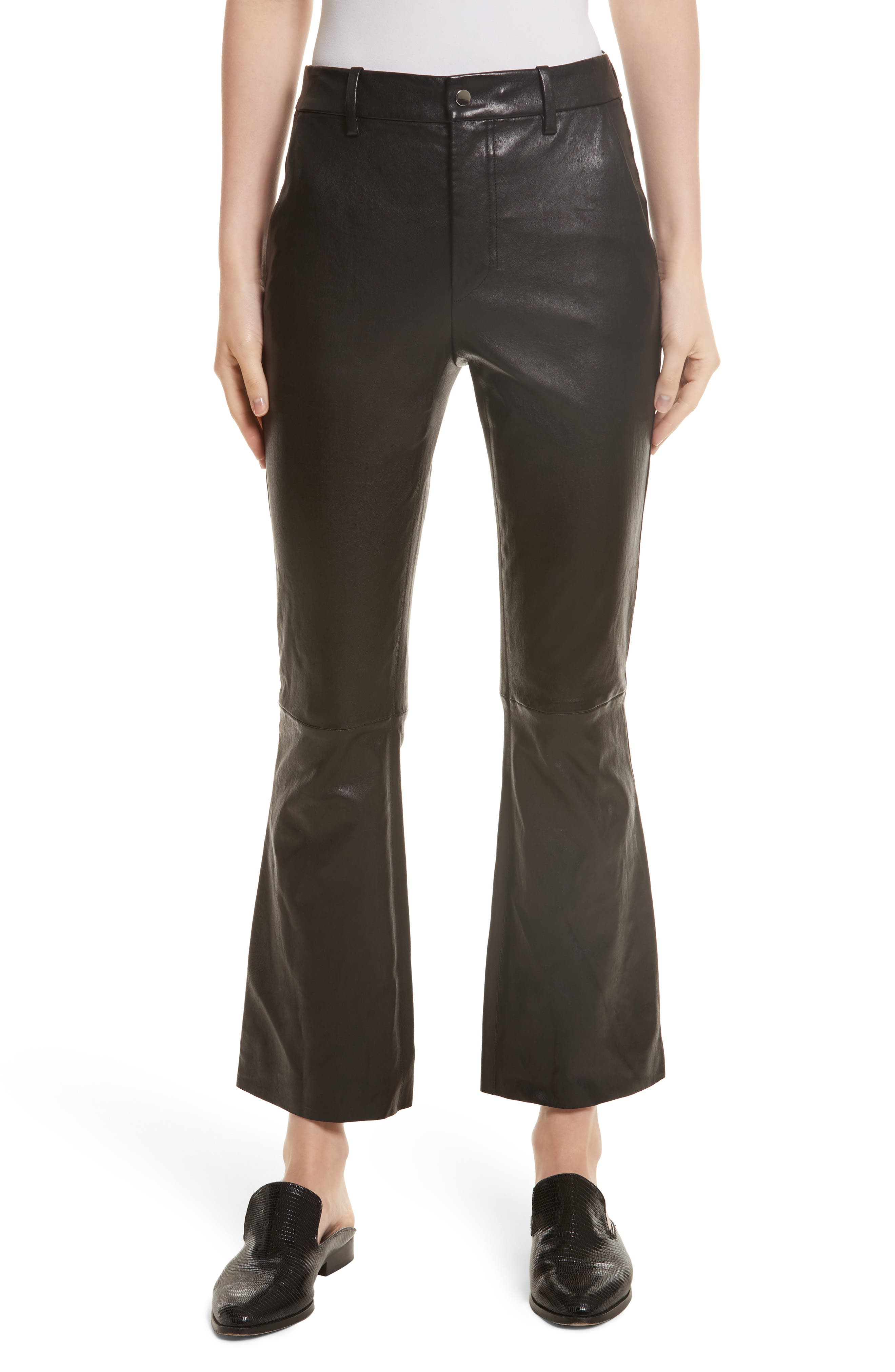 Stretch Leather Flare Pants,                         Main,                         color, Black