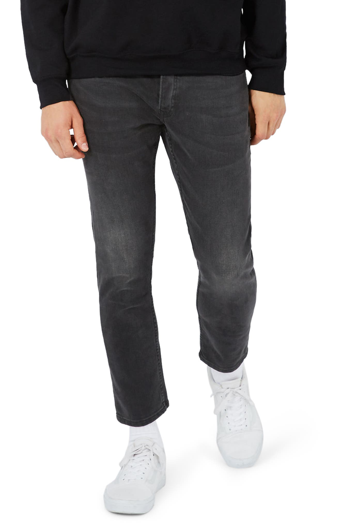 Main Image - Topman Stretch Slim Fit Crop Jeans