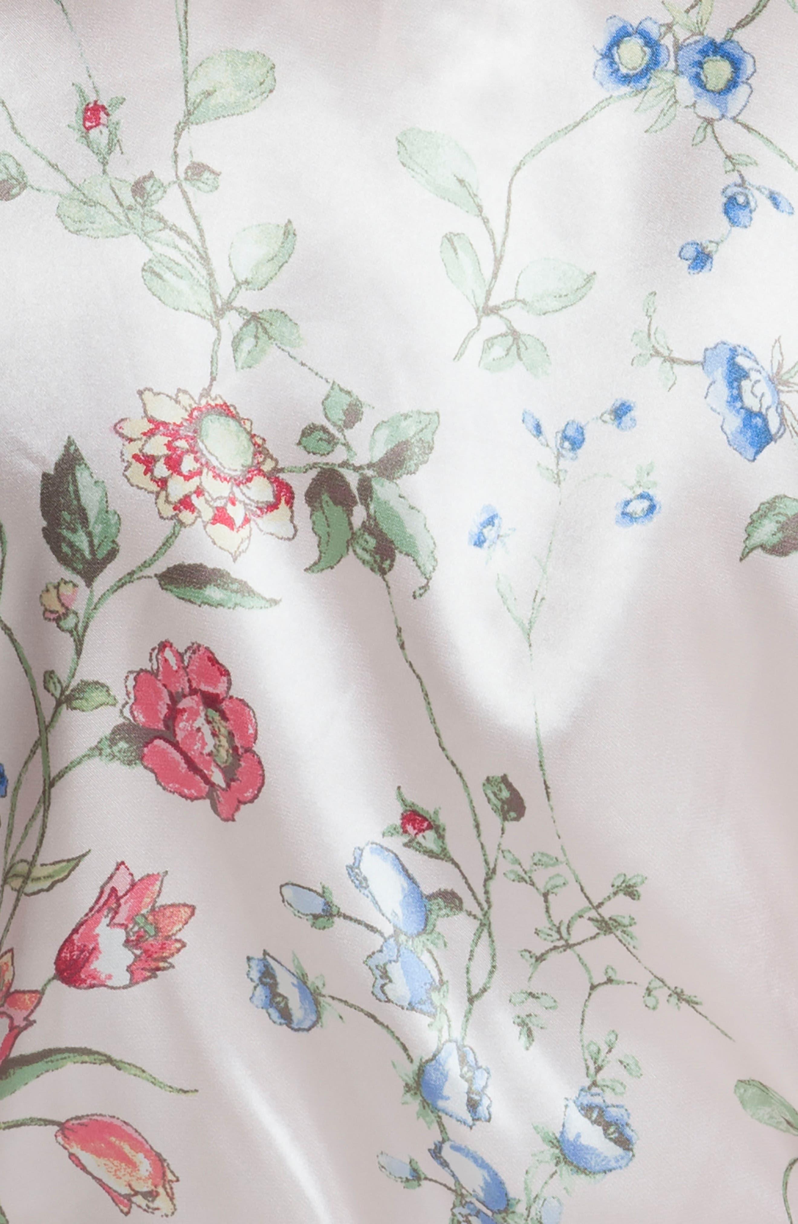 Floral Print Satin Robe,                             Alternate thumbnail 4, color,                             Botanical Breeze-Pink Ground