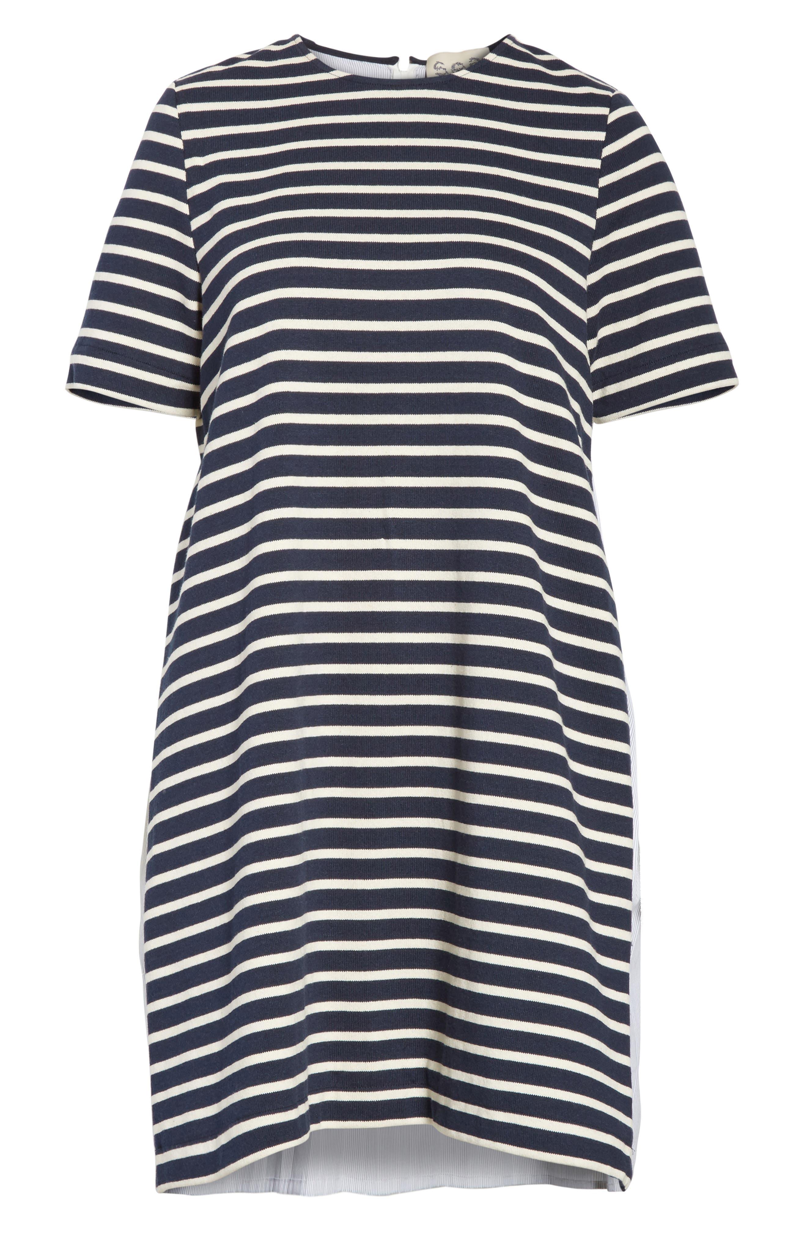 Latch Back Tunic Dress,                             Alternate thumbnail 6, color,                             Navy/ Cream Multi