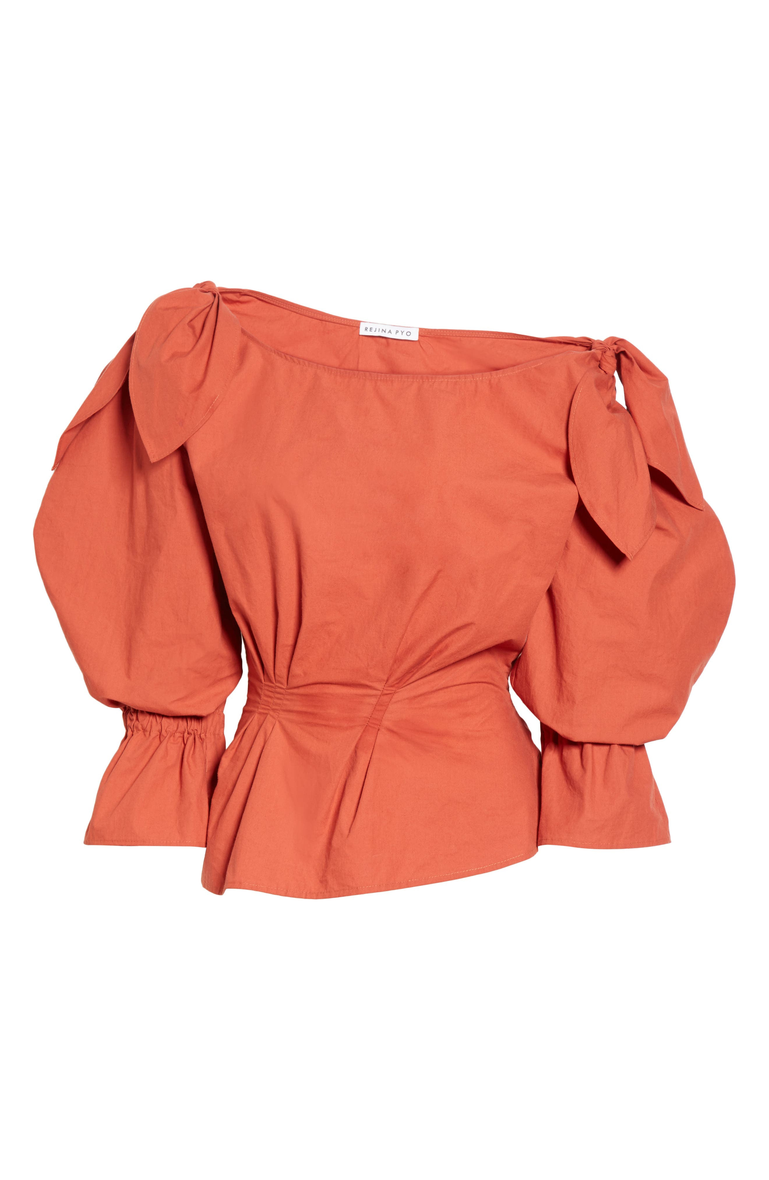 Michelle One-Shoulder Puff Sleeve Blouse,                             Alternate thumbnail 7, color,                             Rust