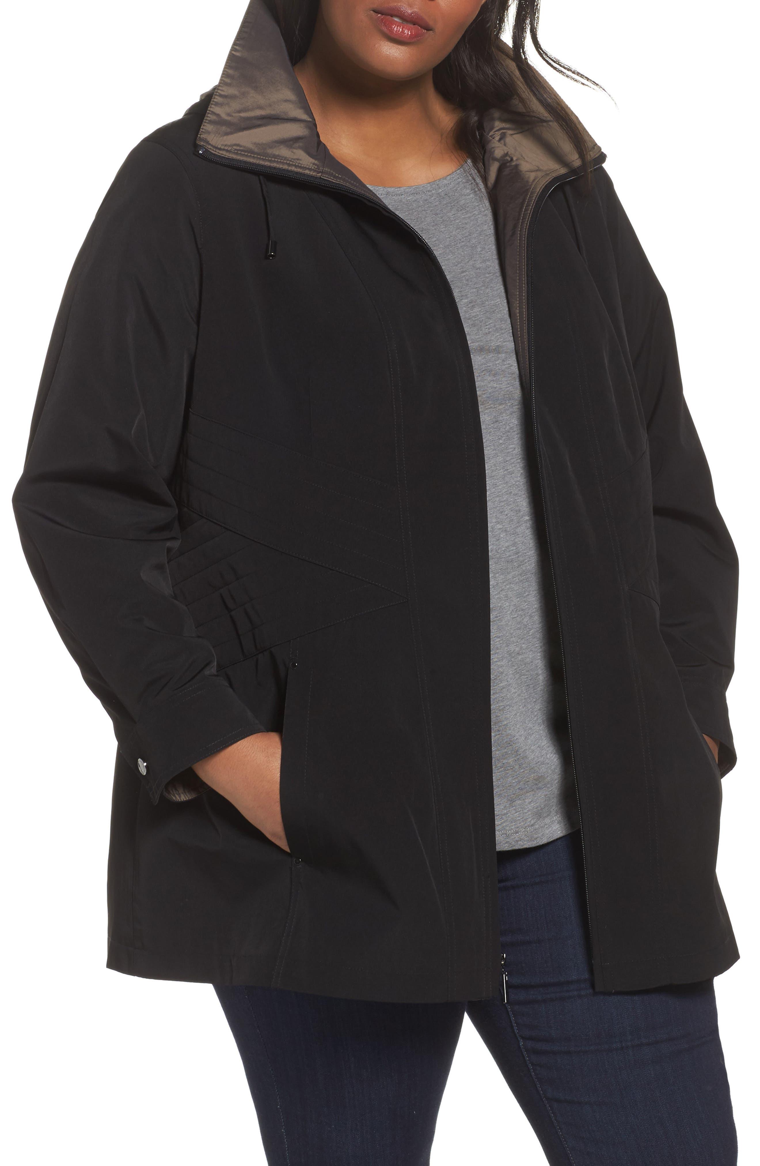 Two-Tone Long Silk Look Raincoat,                         Main,                         color, Black/ Bronze