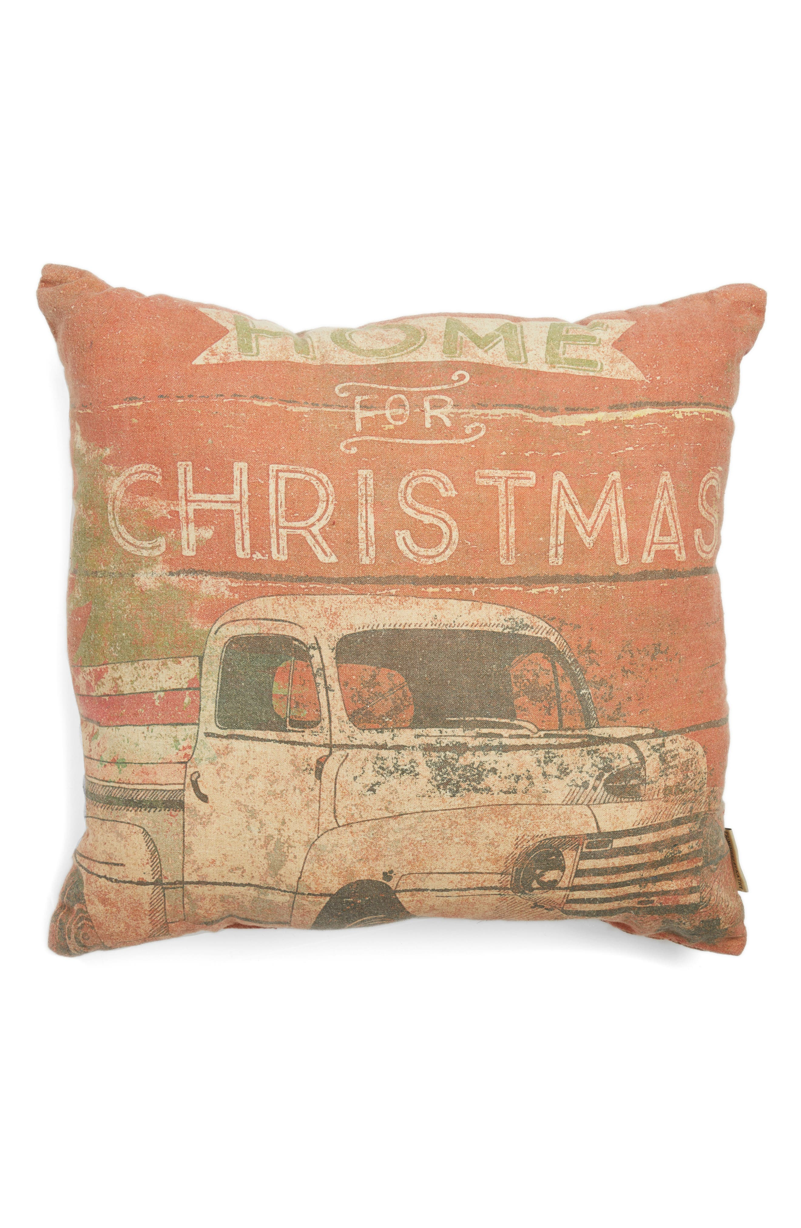 Home For Christmas Accent Pillow,                         Main,                         color, Red