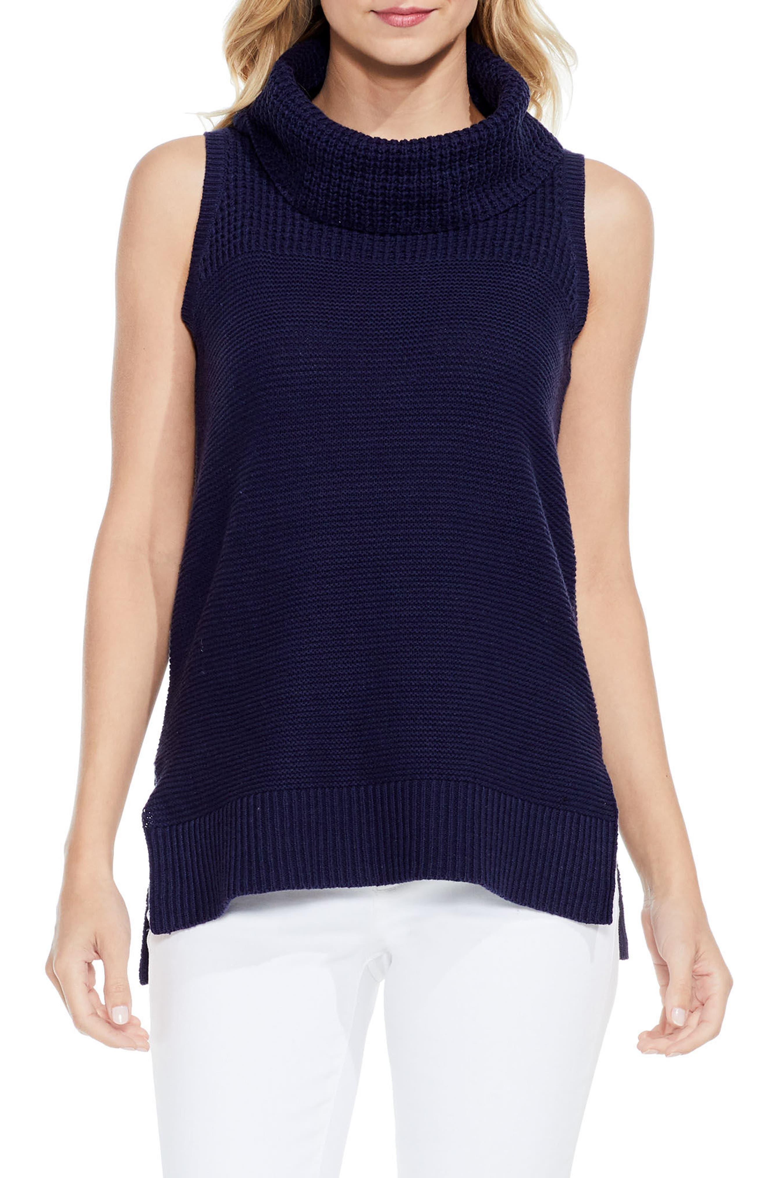 Sleeveless Cowl Neck Sweater,                         Main,                         color, Black Iris