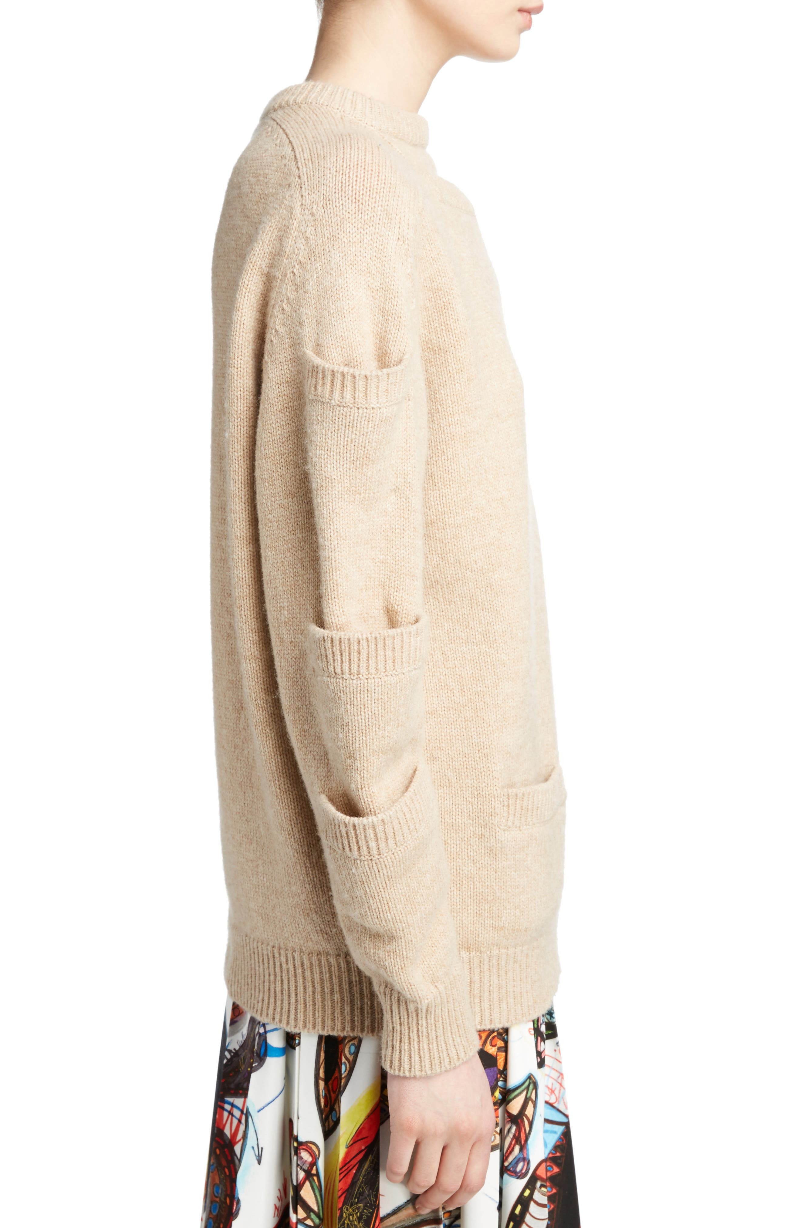Sleeve Pocket Wool Sweater,                             Alternate thumbnail 3, color,                             Oatmeal