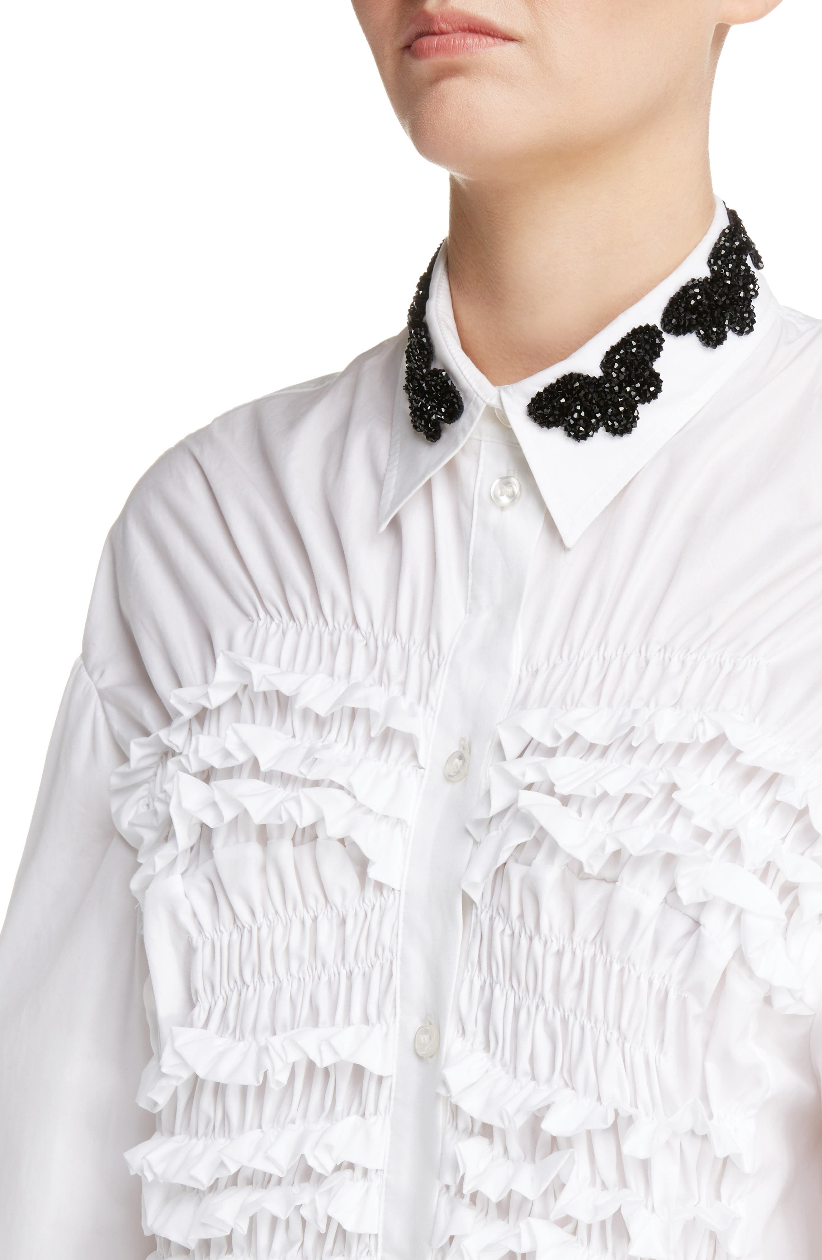 Beaded Collar Smocked Long Blouse,                             Alternate thumbnail 5, color,                             White Black