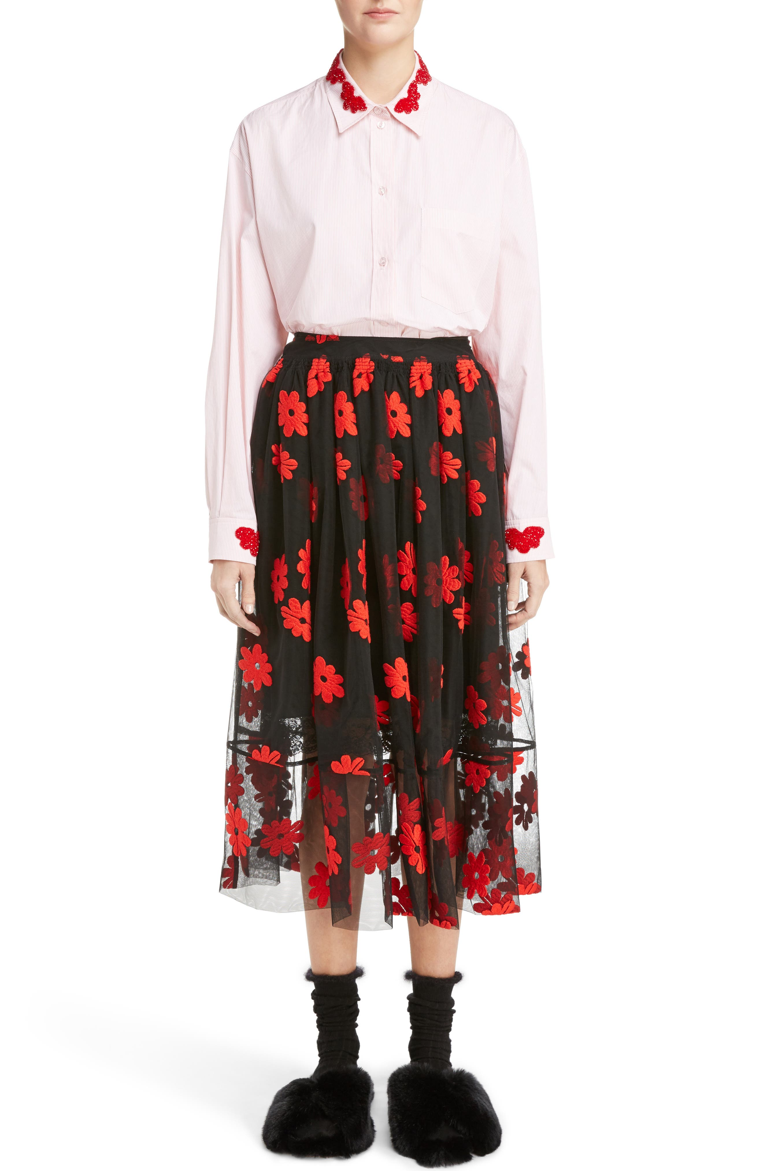 Alternate Image 6  - Simone Rocha Floral Embroidered Tulle Skirt