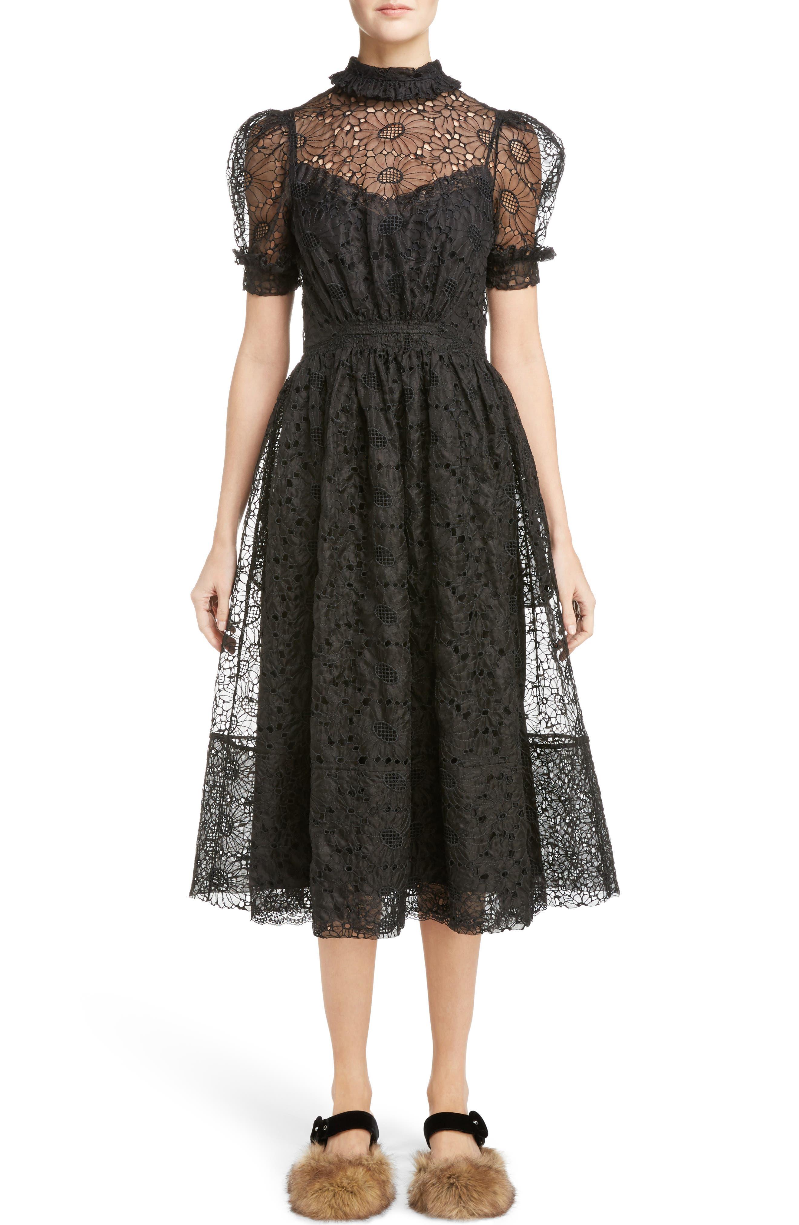 Smocked Waist Floral Organza Dress,                             Main thumbnail 1, color,                             Black