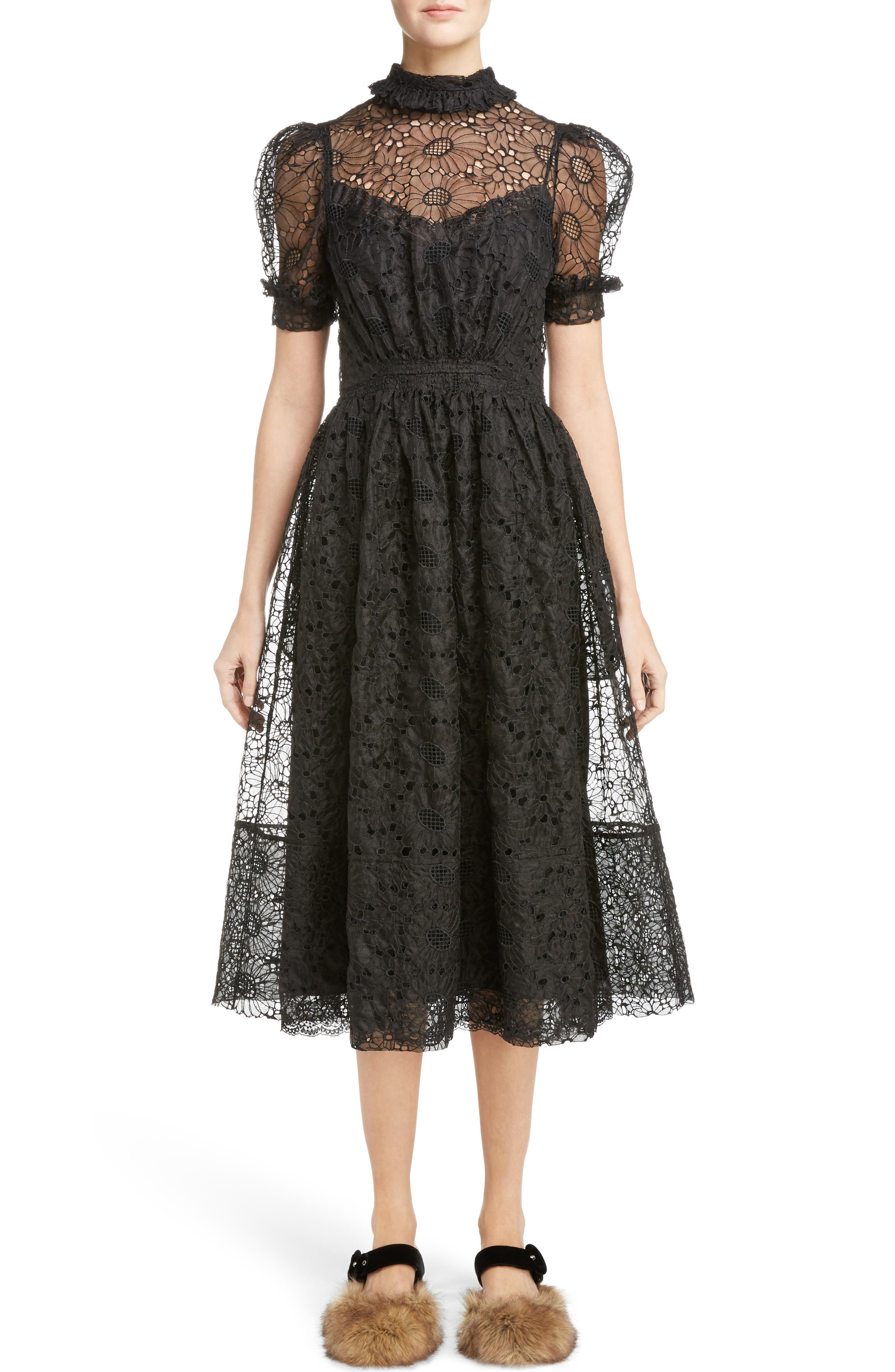 Smocked Waist Floral Organza Dress,                         Main,                         color, Black