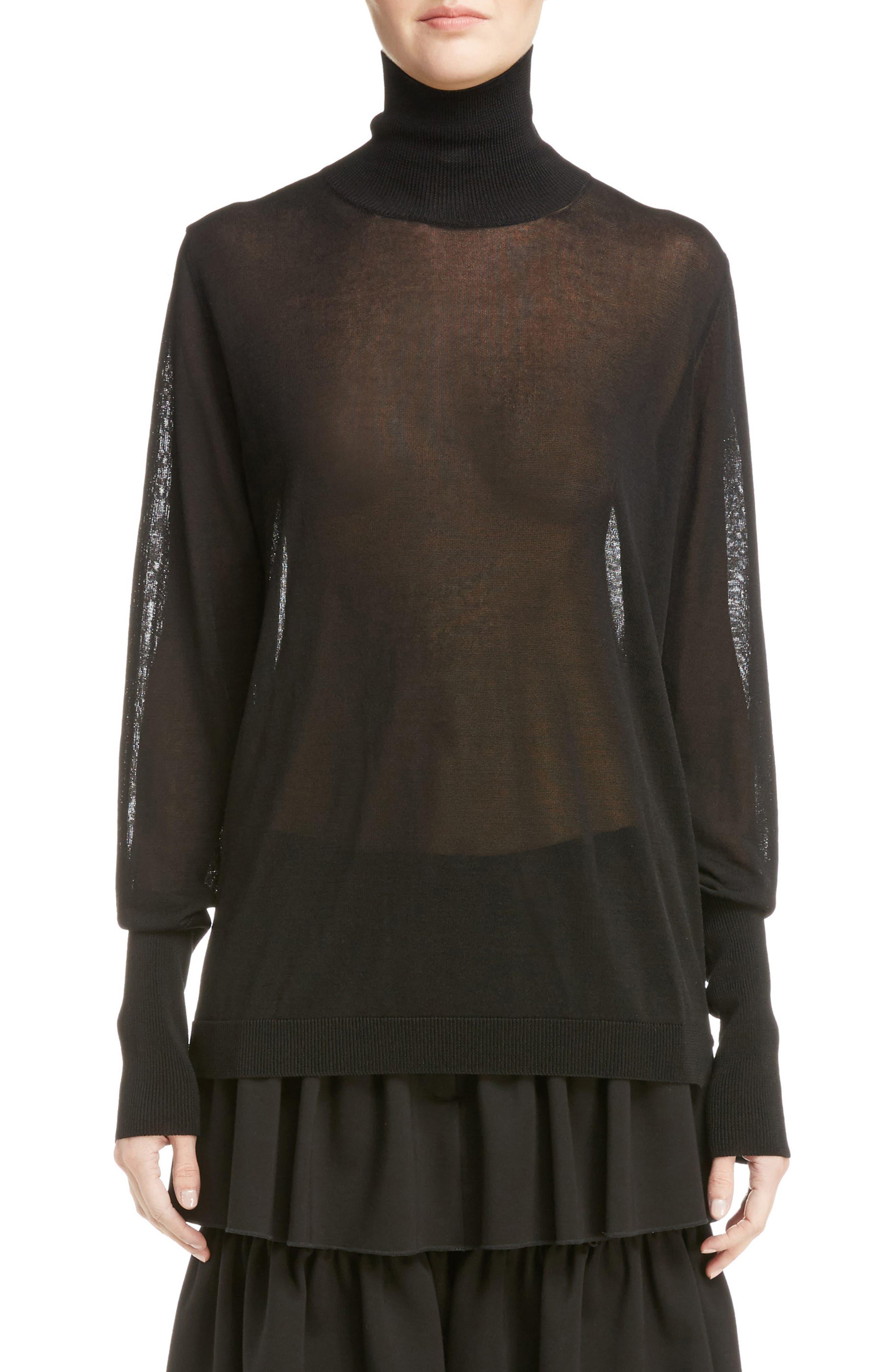 Sheer Mock Neck Sweater,                         Main,                         color, Black