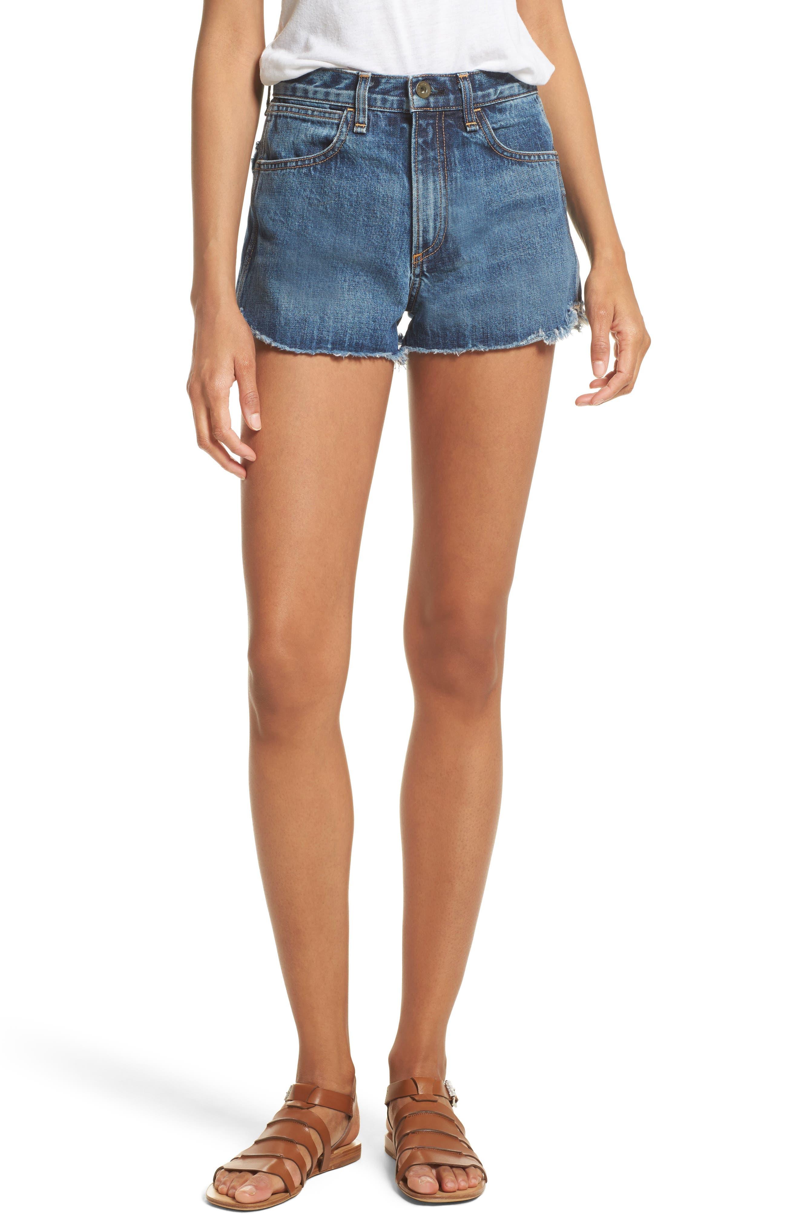 Lou High Waist Cutoff Denim Shorts,                         Main,                         color, Cha Cha Room