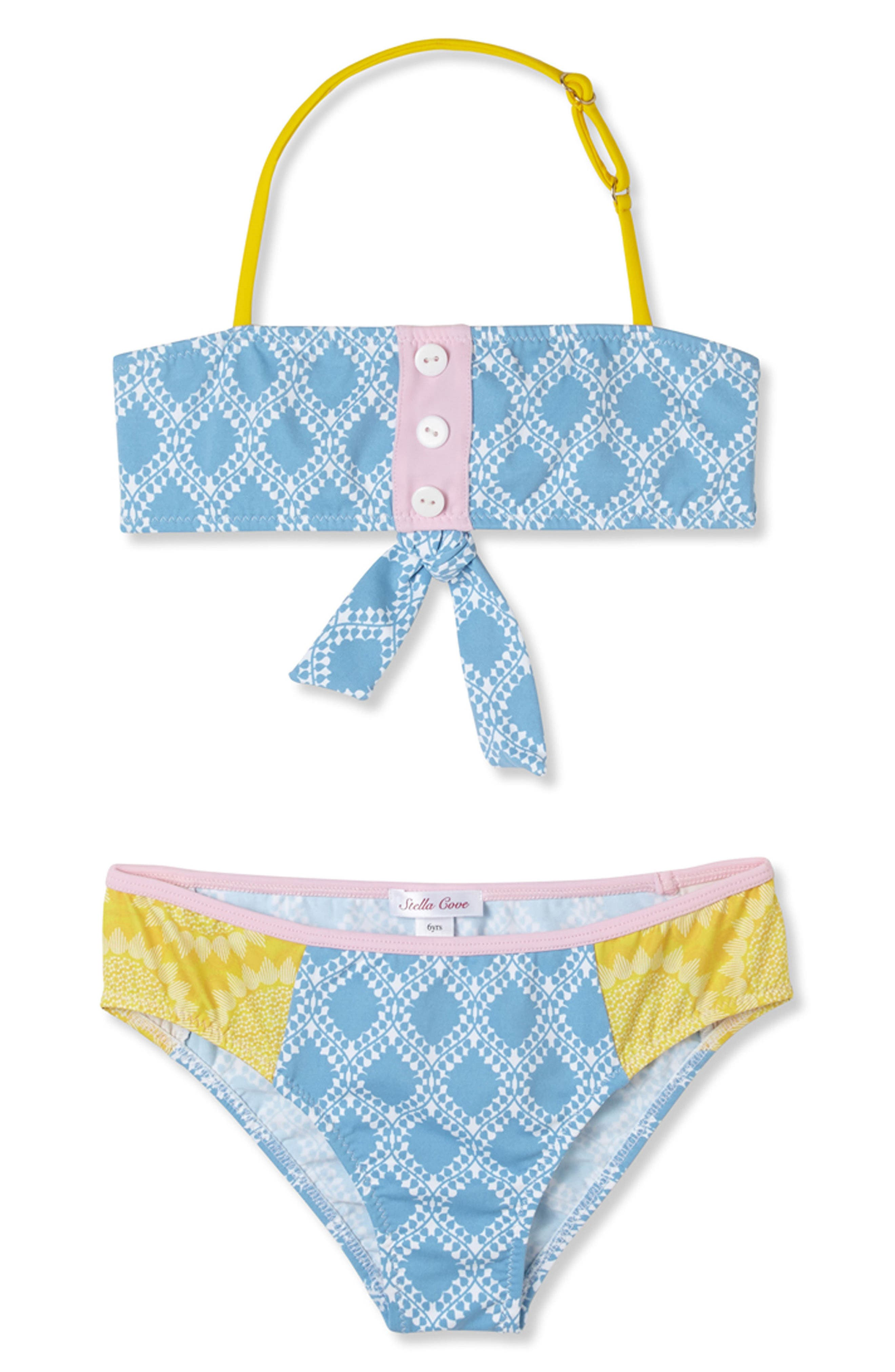 Mixed Print Two-Piece Swimsuit,                         Main,                         color, Blue