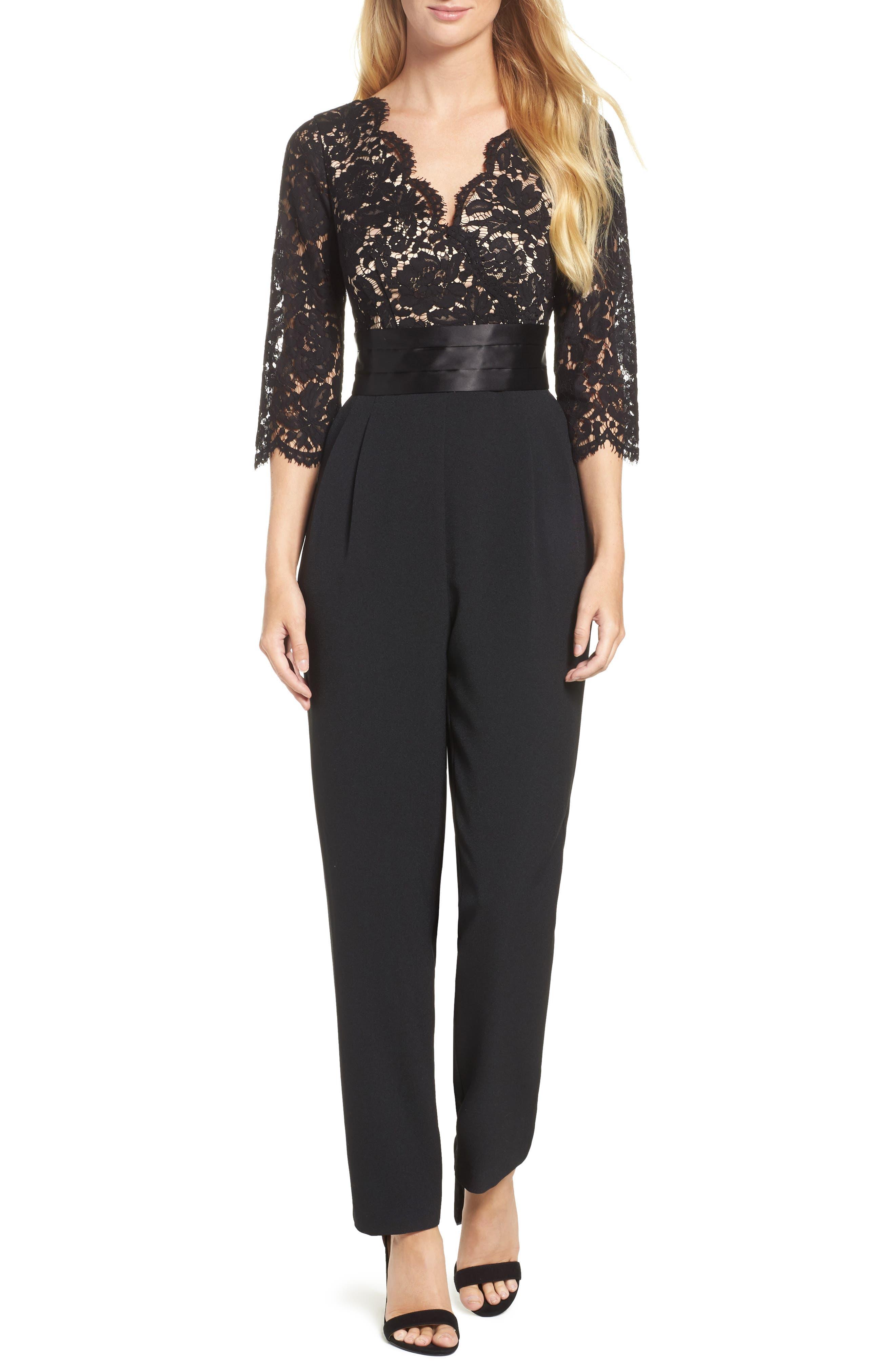 Lace Bodice Jumpsuit,                         Main,                         color, Black