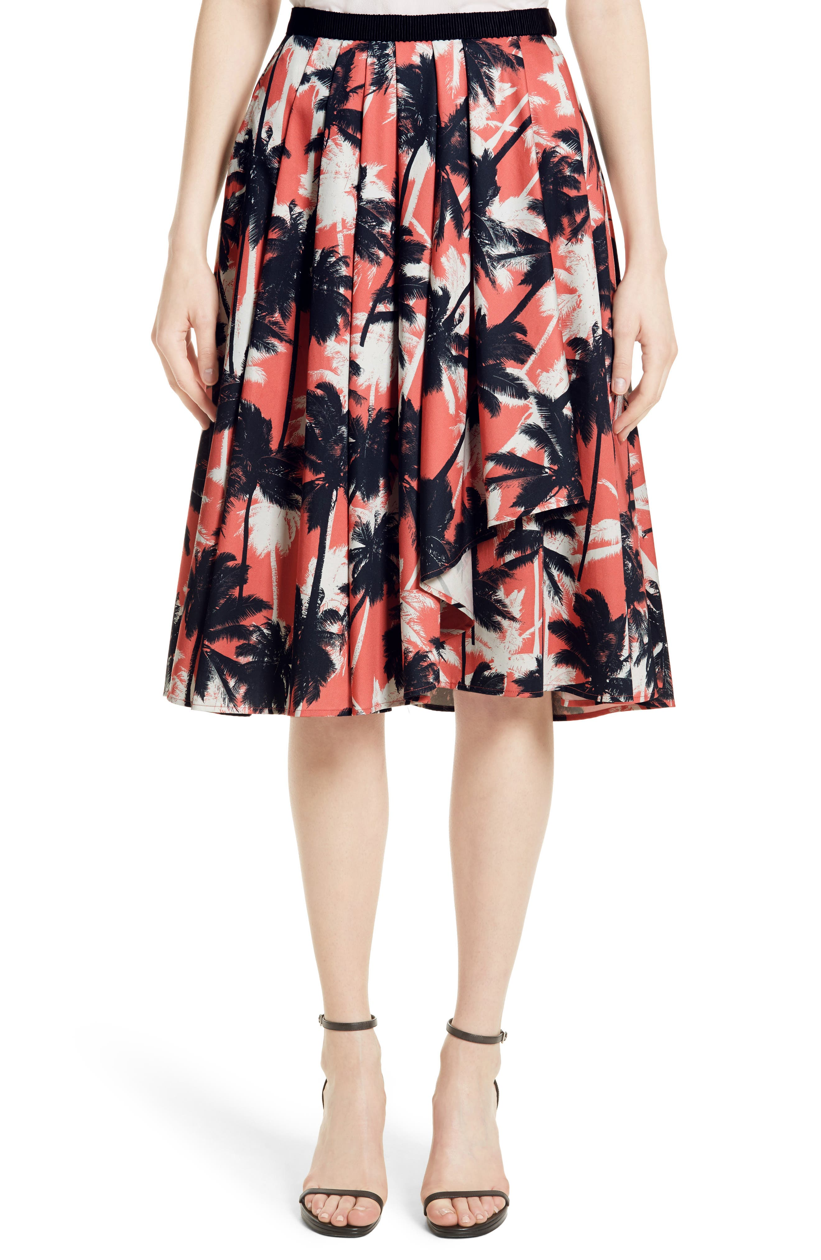 JASON WU Palm Print Front Drape A-Line Cotton Skirt