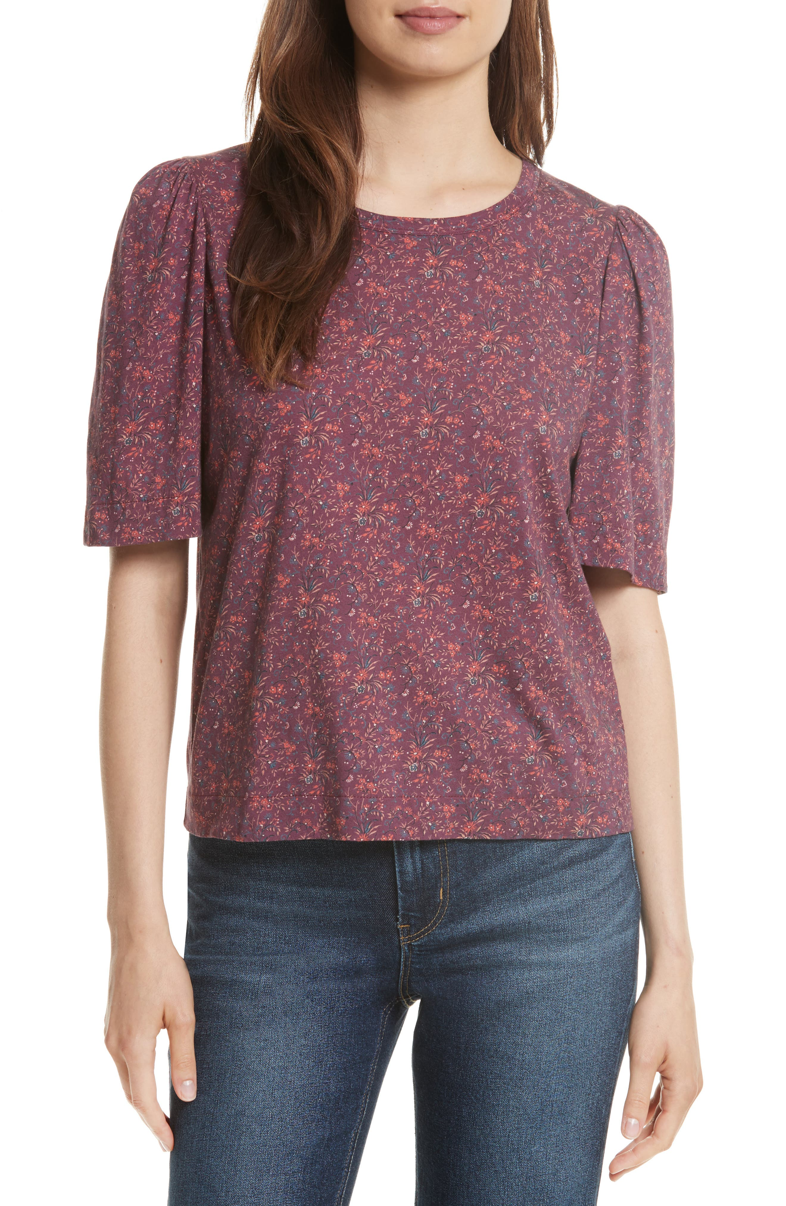 Rebecca Taylor Brittany Floral Jersey Top,                             Main thumbnail 1, color,                             Plum Combo