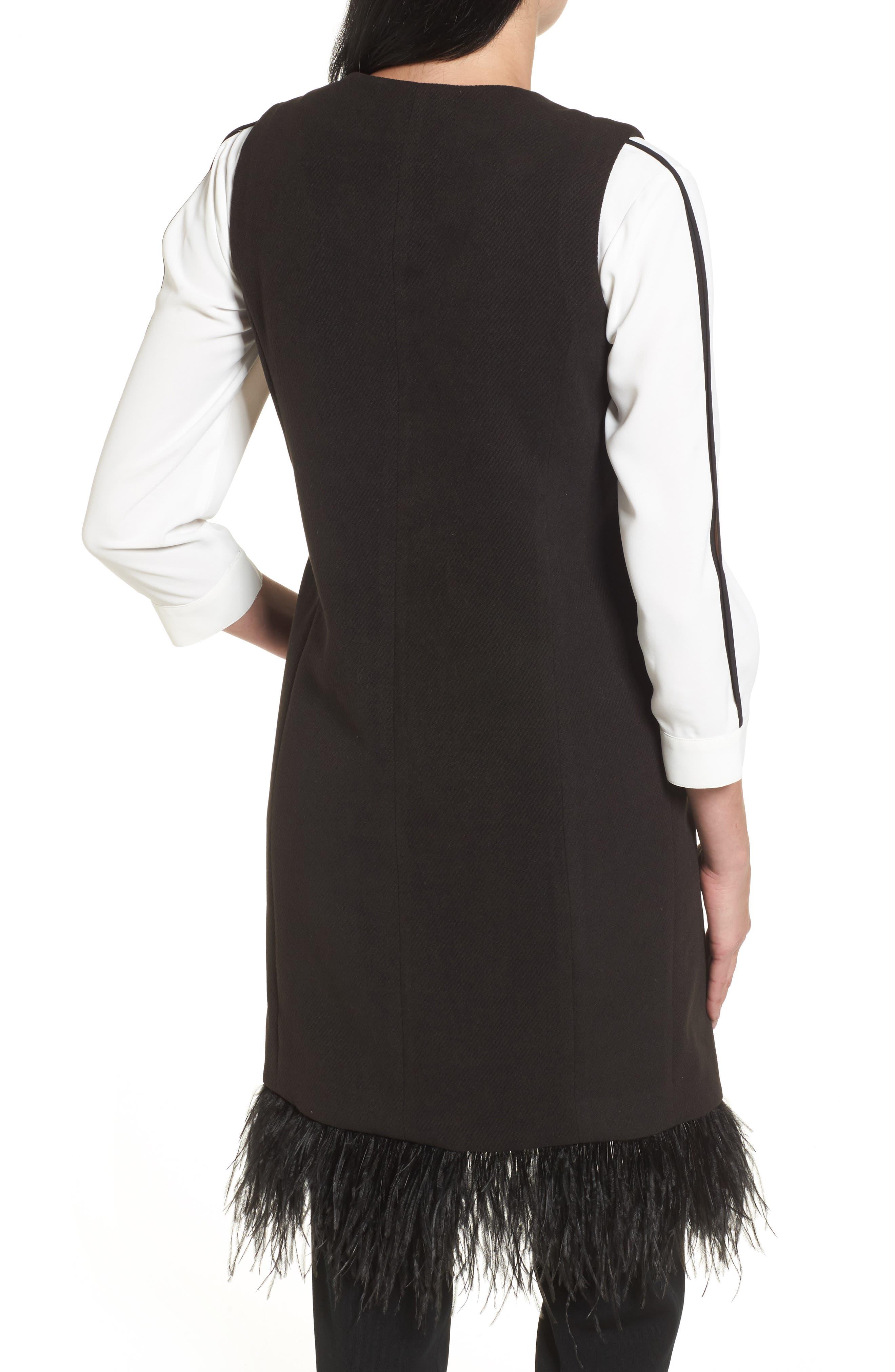 Faux Feather Trim Long Vest,                             Alternate thumbnail 2, color,                             Black
