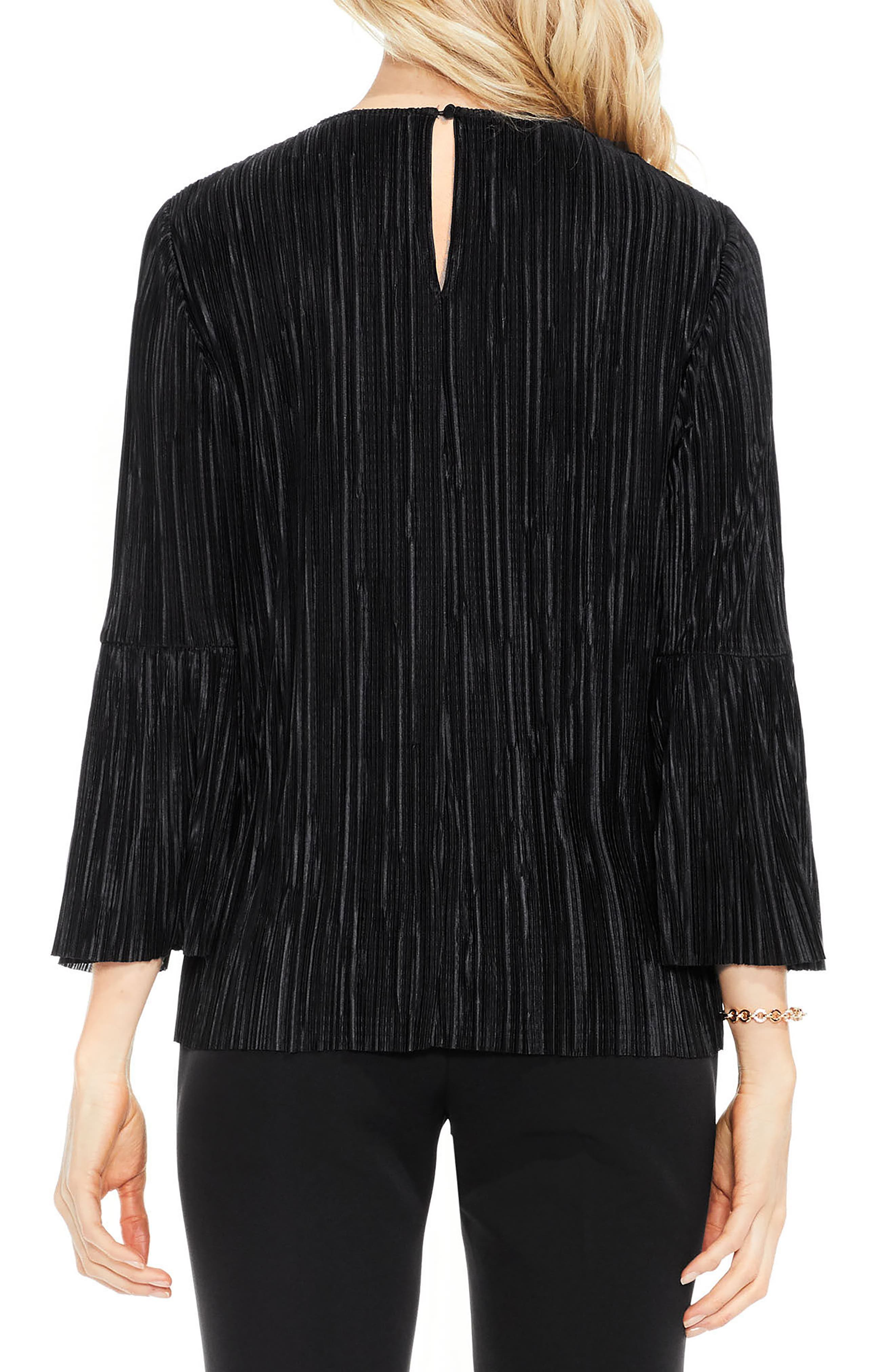 Alternate Image 2  - Vince Camuto Pleated Knit Top (Regular & Petite)
