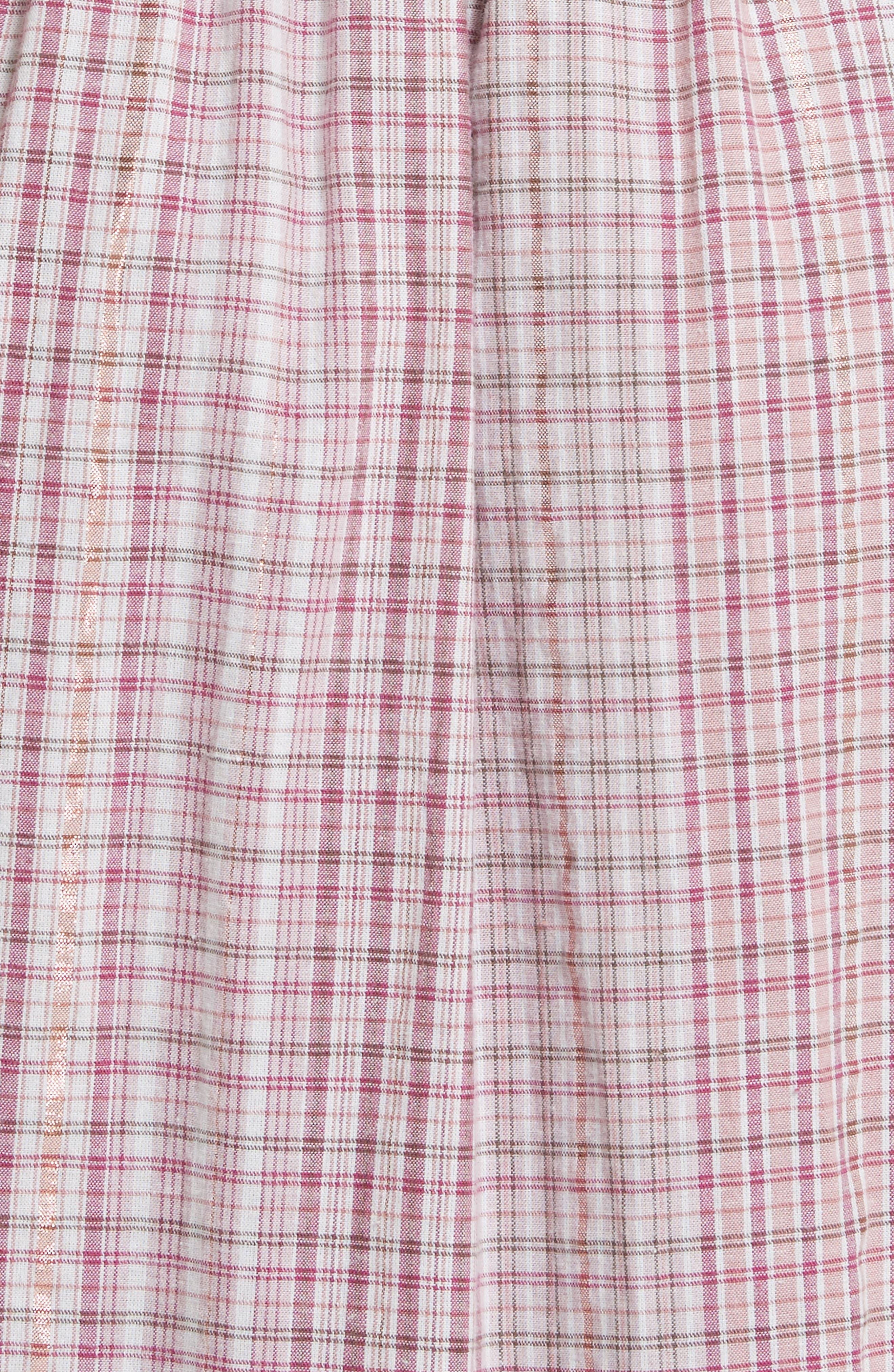 Alternate Image 5  - La Vie Rebecca Taylor Cold Shoulder Lurex® Plaid Midi Dress