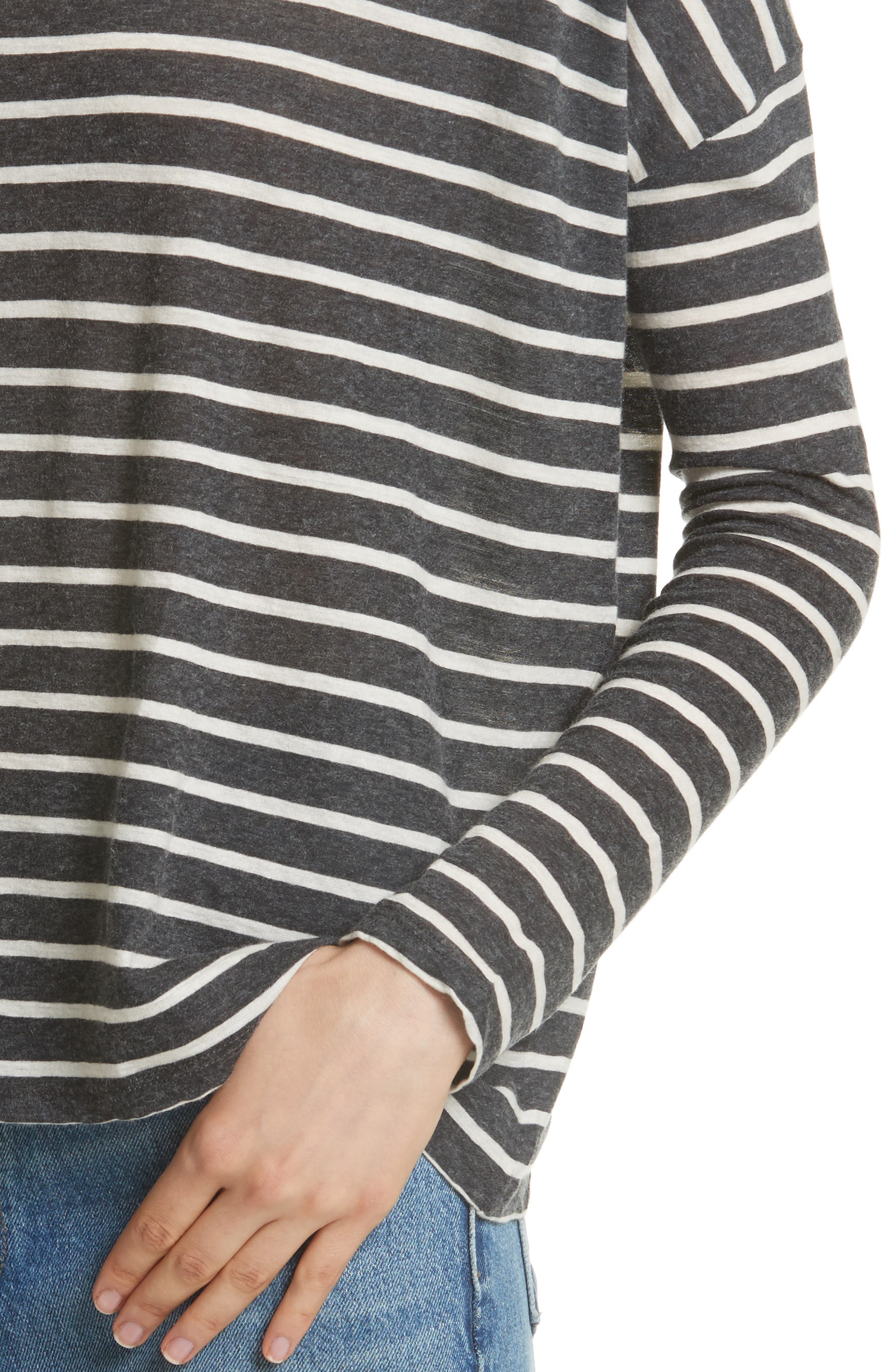 Stripe Cotton & Cashmere Boatneck Top,                             Alternate thumbnail 4, color,                             Anthracite/ Milk