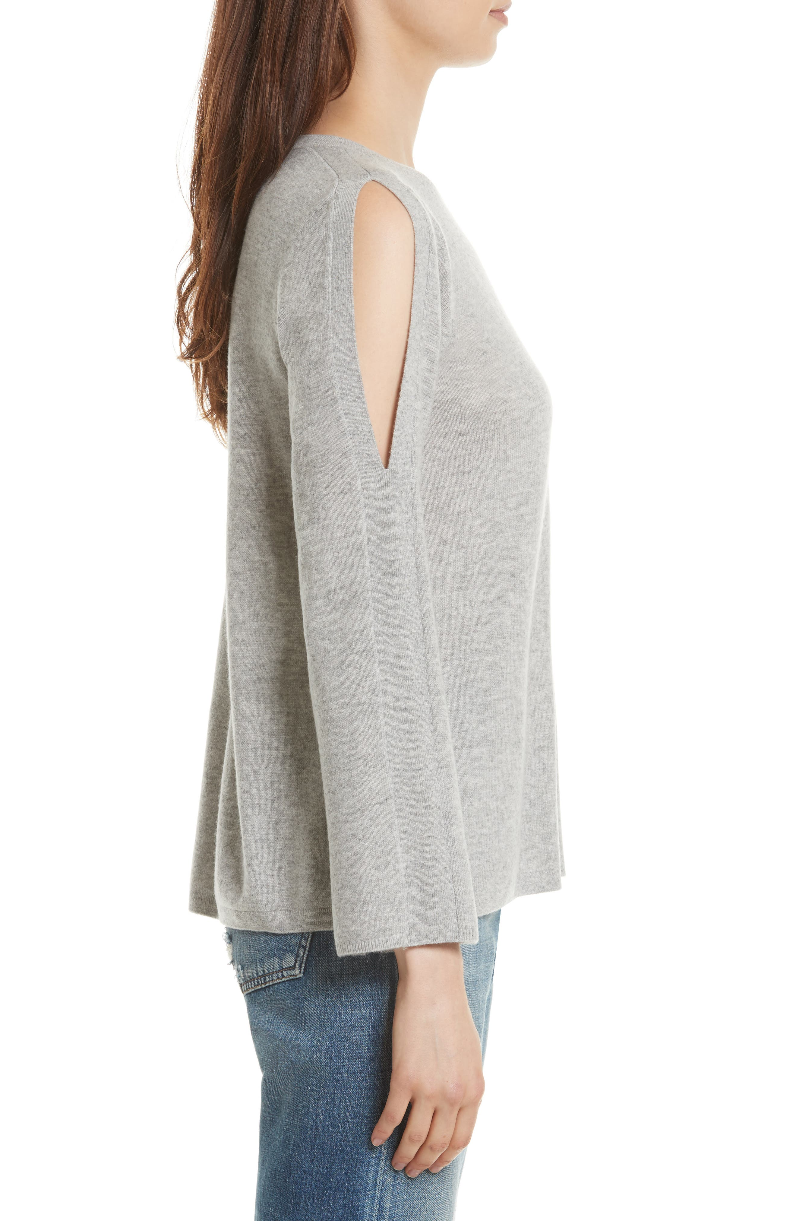Amalyn Cold Shoulder Wool & Cashmere Sweater,                             Alternate thumbnail 3, color,                             Ash Heather Grey