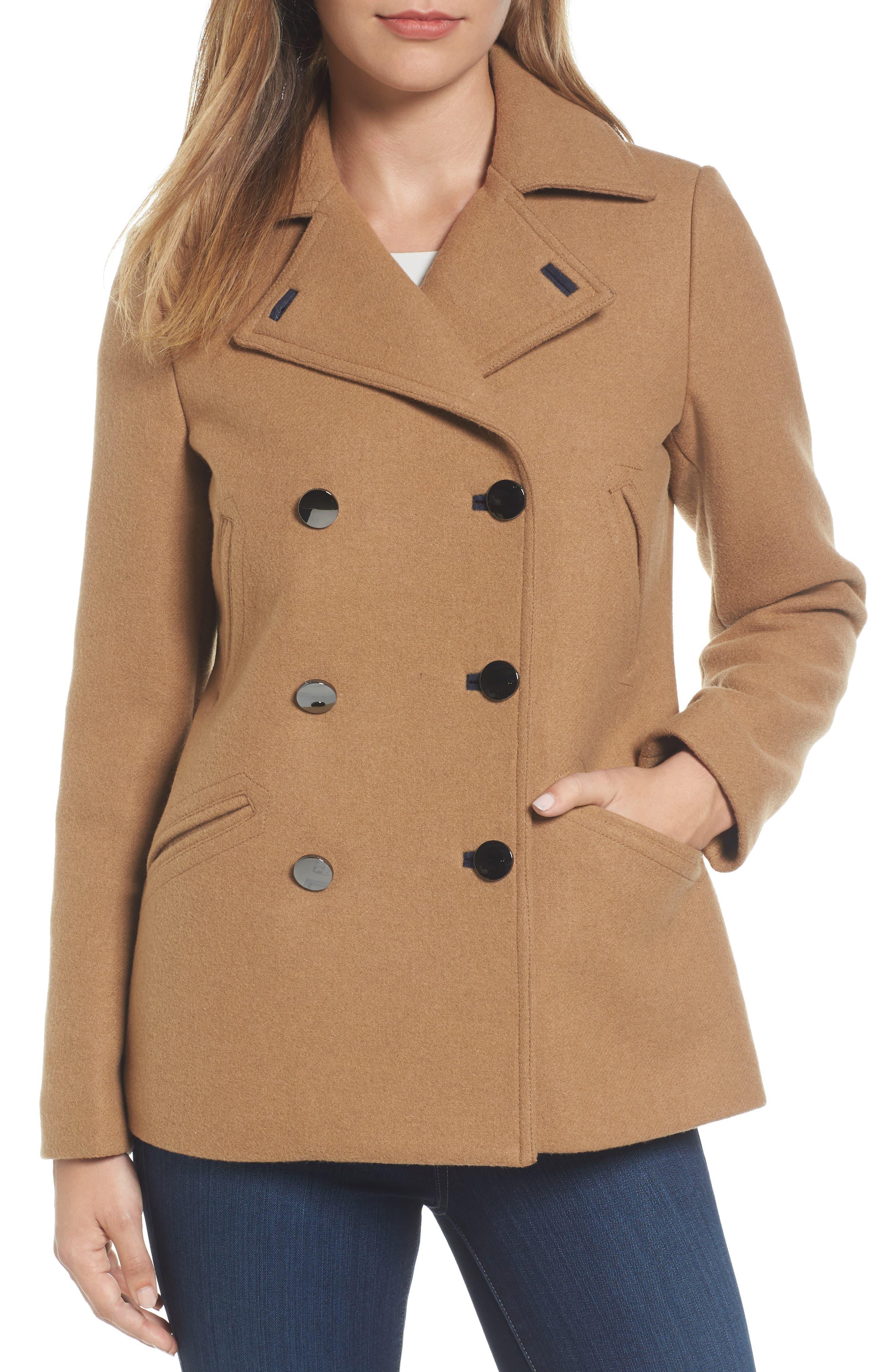 MICHAEL Michael Kors Double Breasted Wool Blend Coat