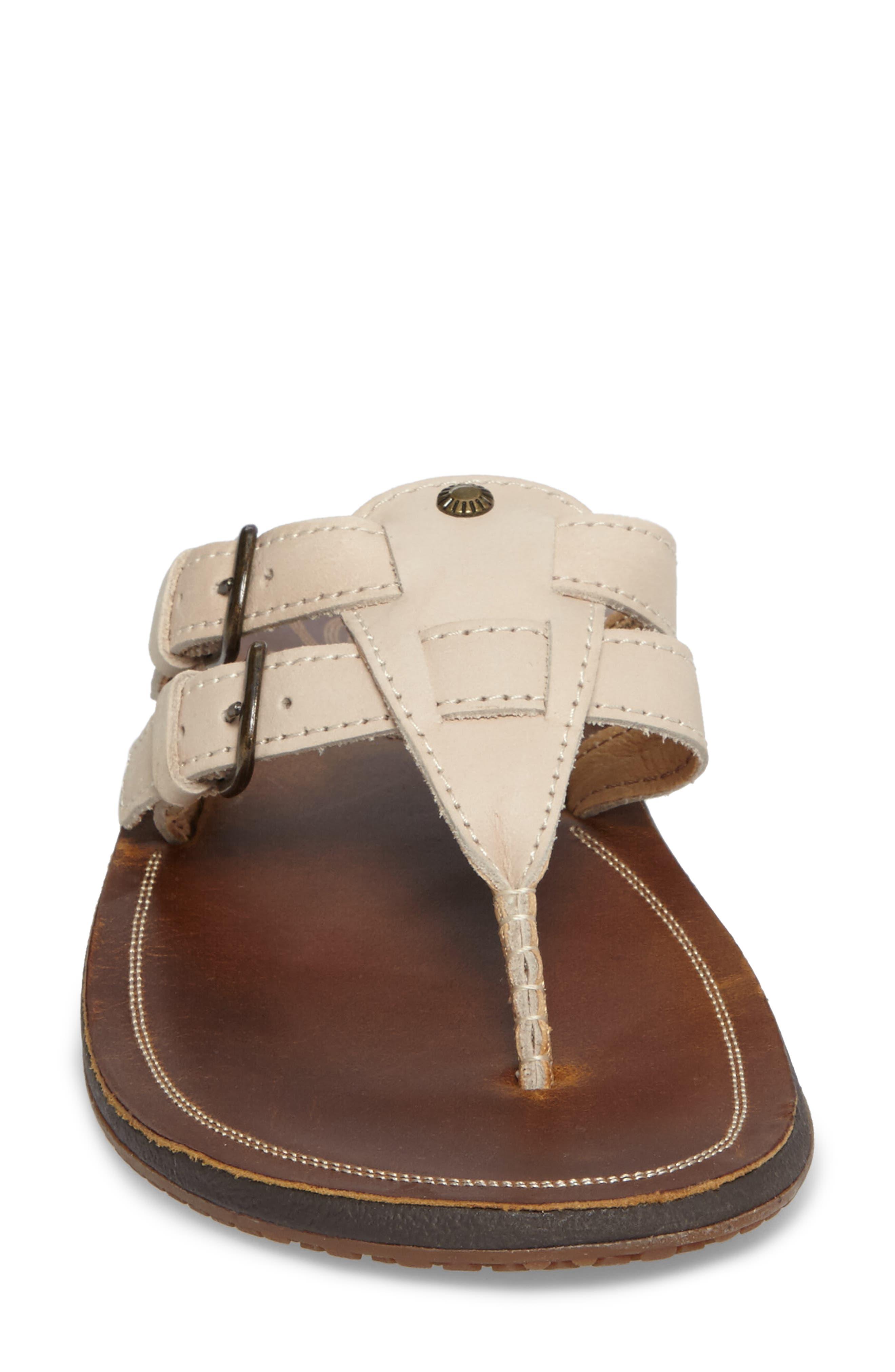 Honoka'a Buckle Flip Flop,                             Alternate thumbnail 4, color,                             Tapa/ Sahara Leather