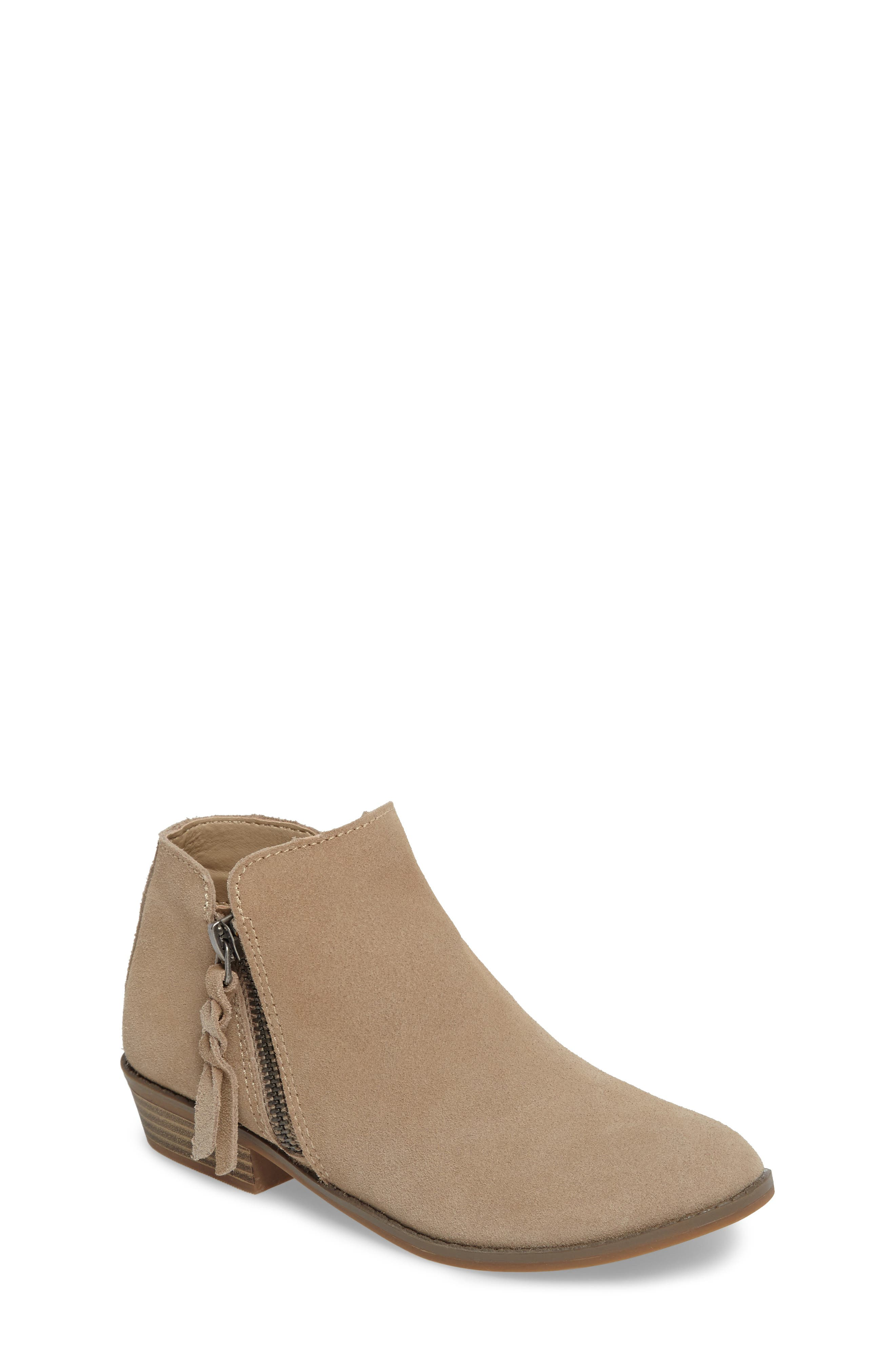 Sia Double-Zip Bootie,                         Main,                         color, Sand Suede